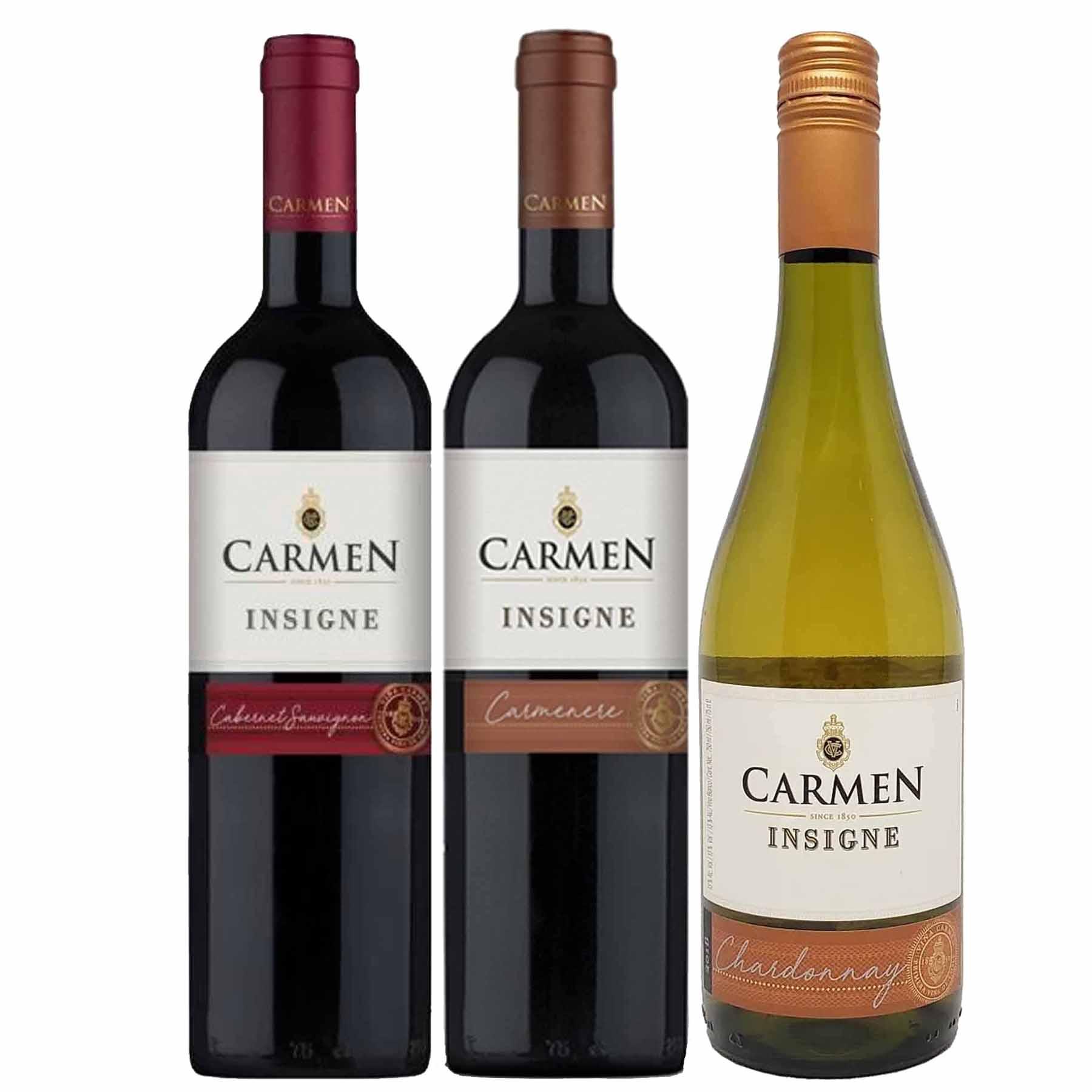 Kit 3 Vinhos Chilenos Carmen Insigne Cabernet Sauvignon, Carmenere e Chardonnay