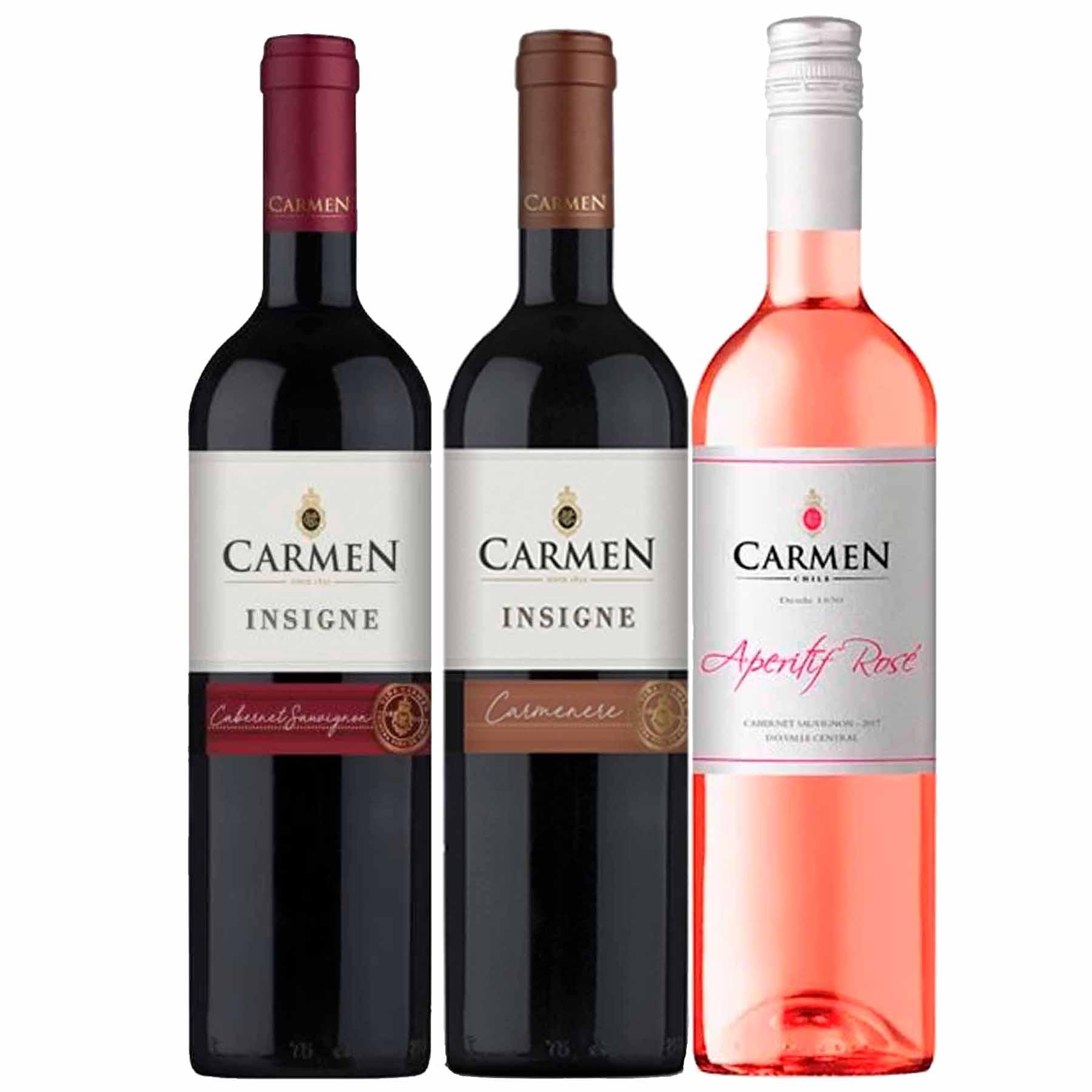 Kit 3 Vinhos Chilenos Carmen Insigne Cabernet Sauvignon, Carmenere e Rosé