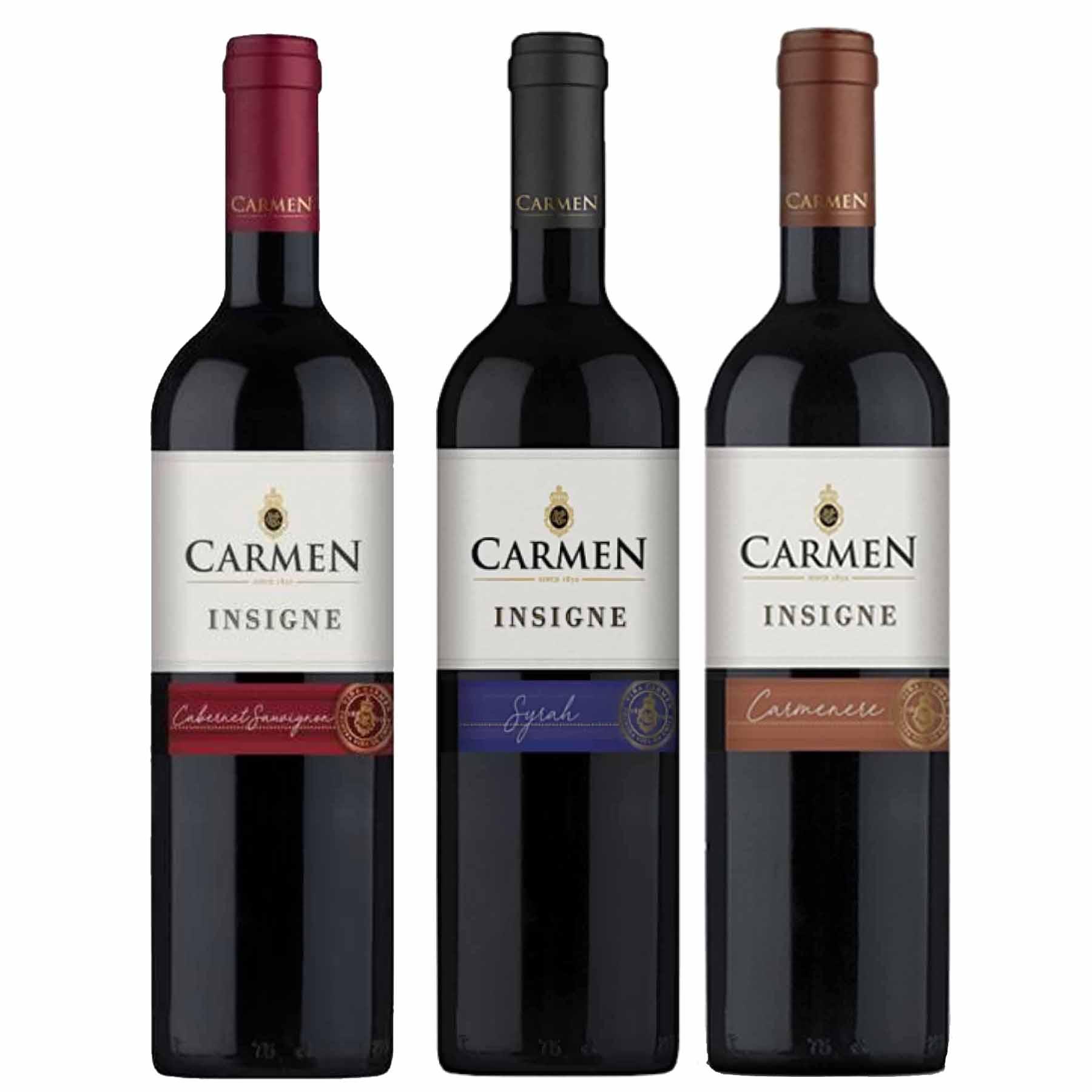Kit 3 Vinhos Chilenos Carmen Insigne Syrah, Cabernet Sauvignon e Carmenere