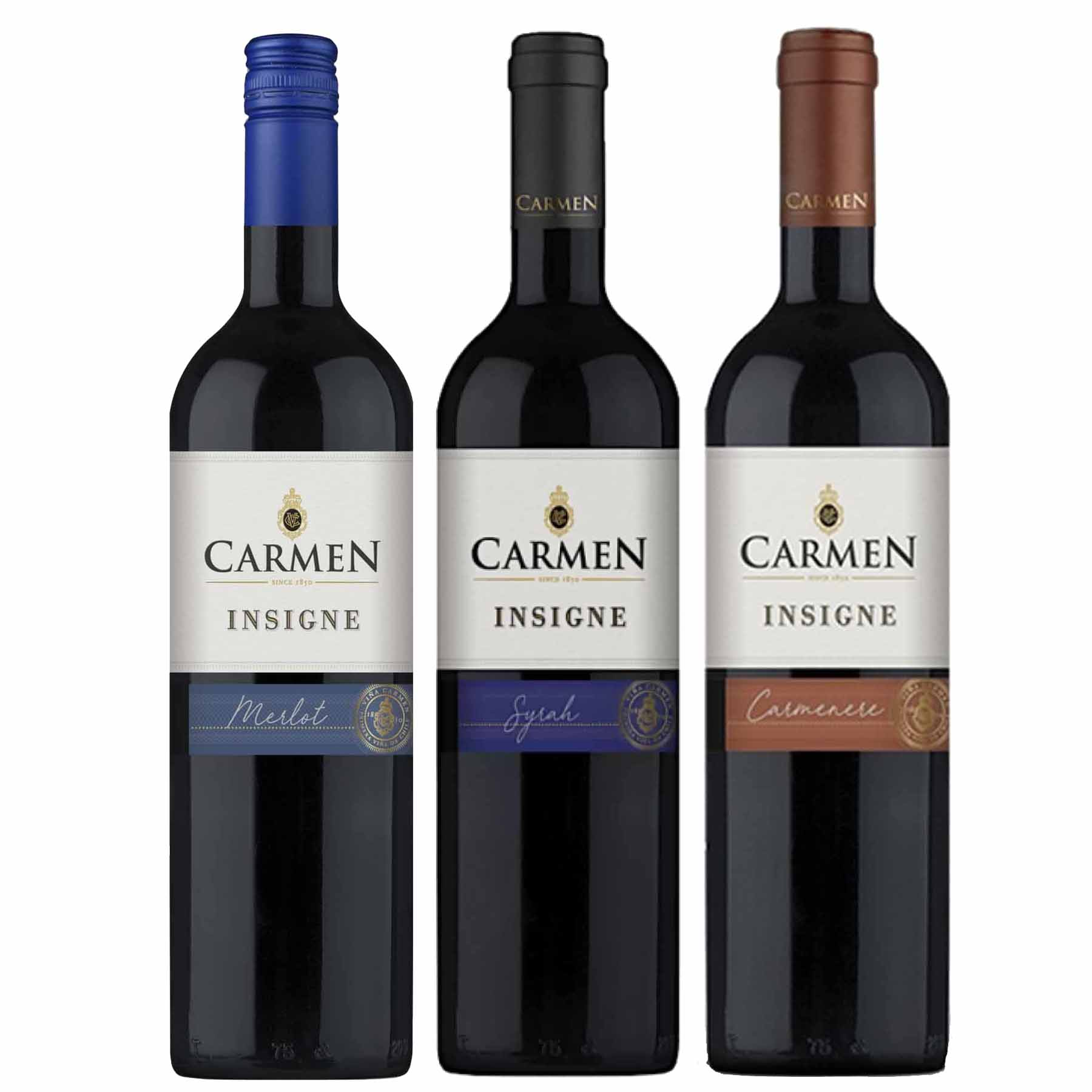 Kit 3 Vinhos Chilenos Carmen Insigne Syrah, Merlot e Carmenere