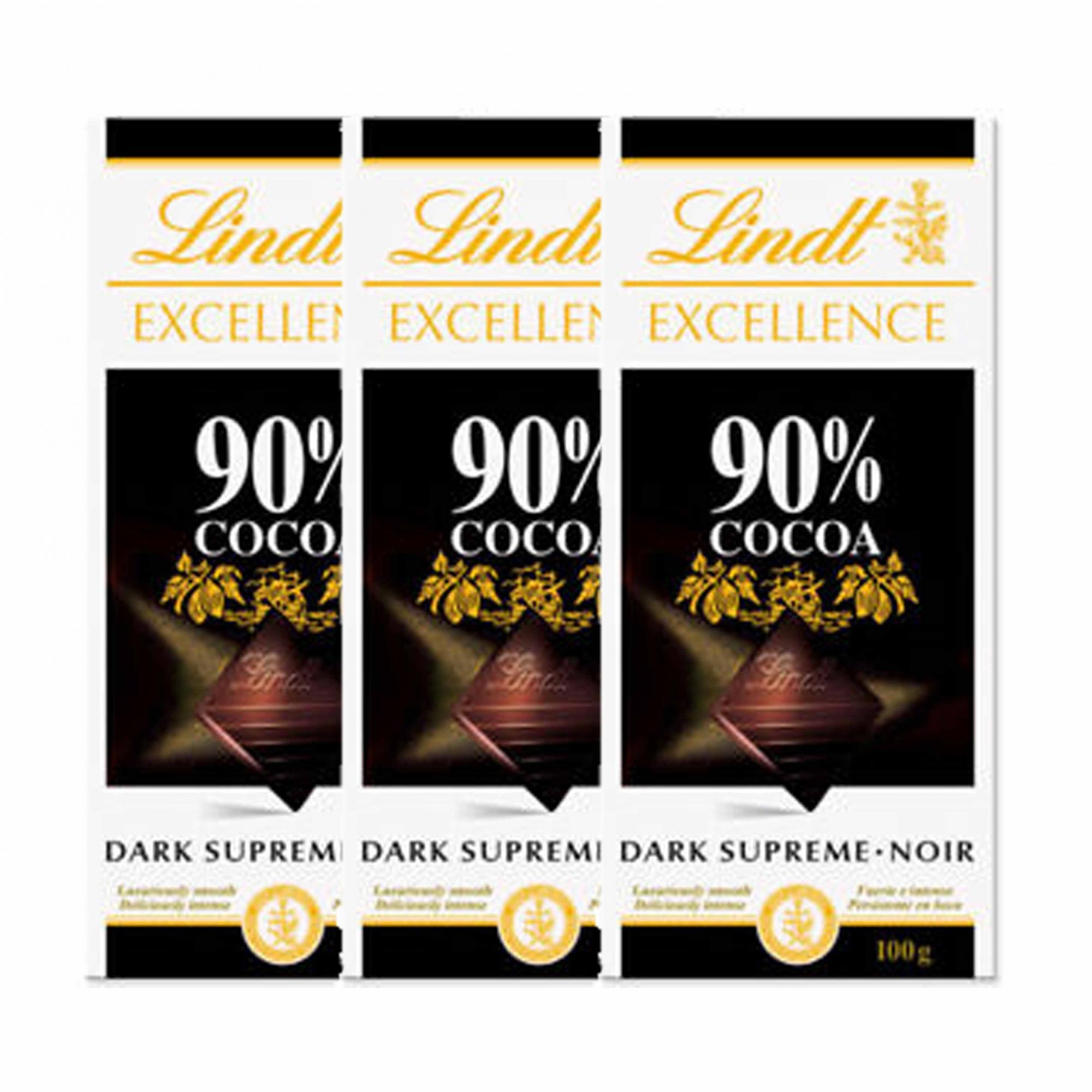 Kit 3x Barra de chocolate Lindt Excellence 90% Amargo 100g Dark