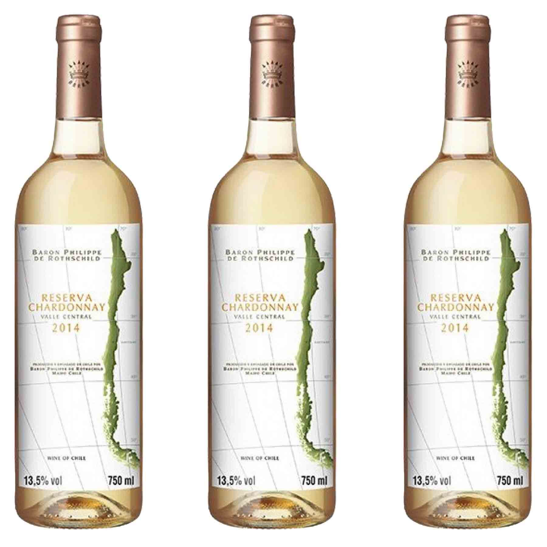 Kit 3x Vinho Branco Chileno Baron Philippe de Rothschild Reserv Chardonnay 2018 750ml