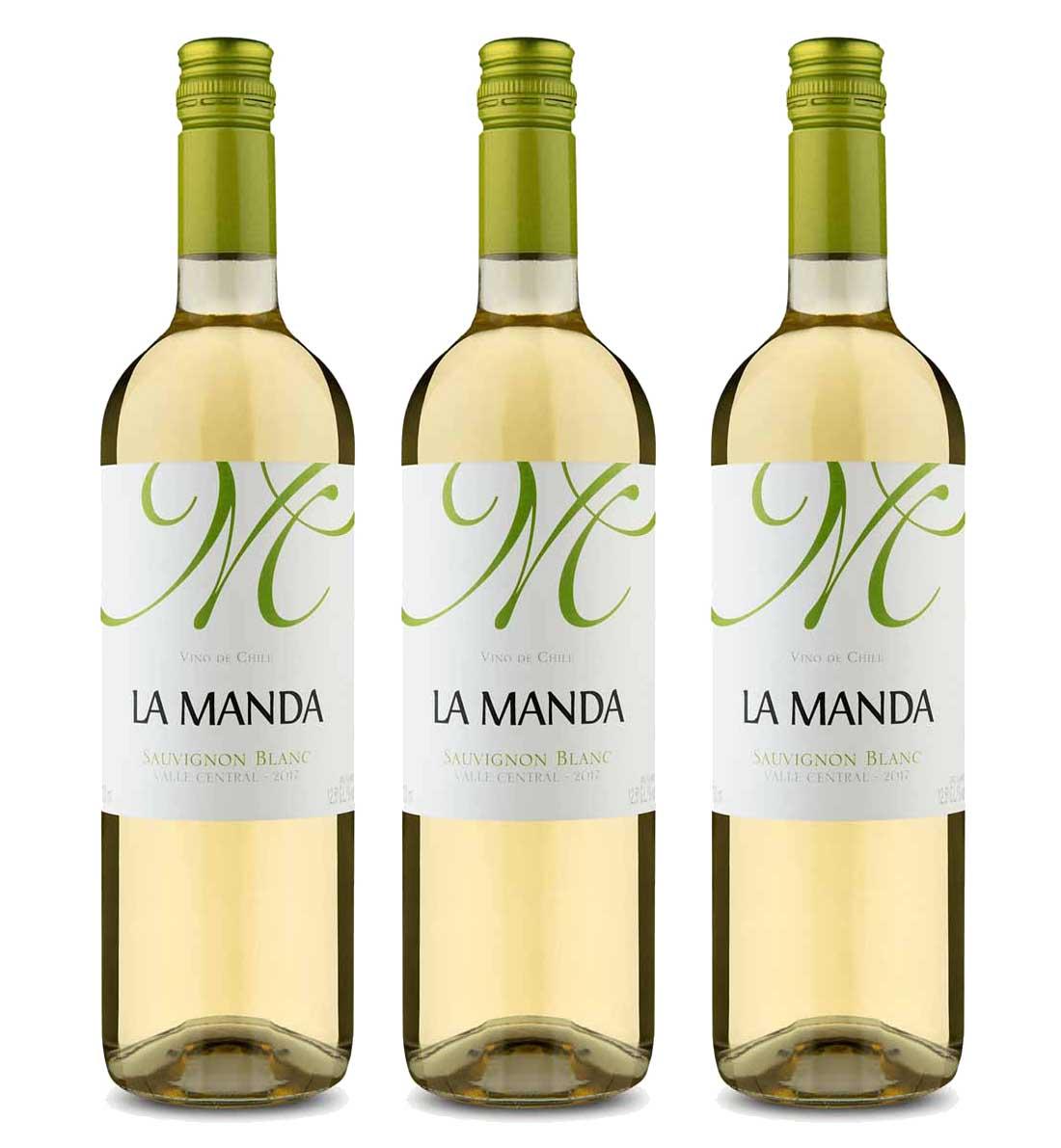 Kit 3x Vinho Branco Chileno La Manda Sauvignon Blanc 2019