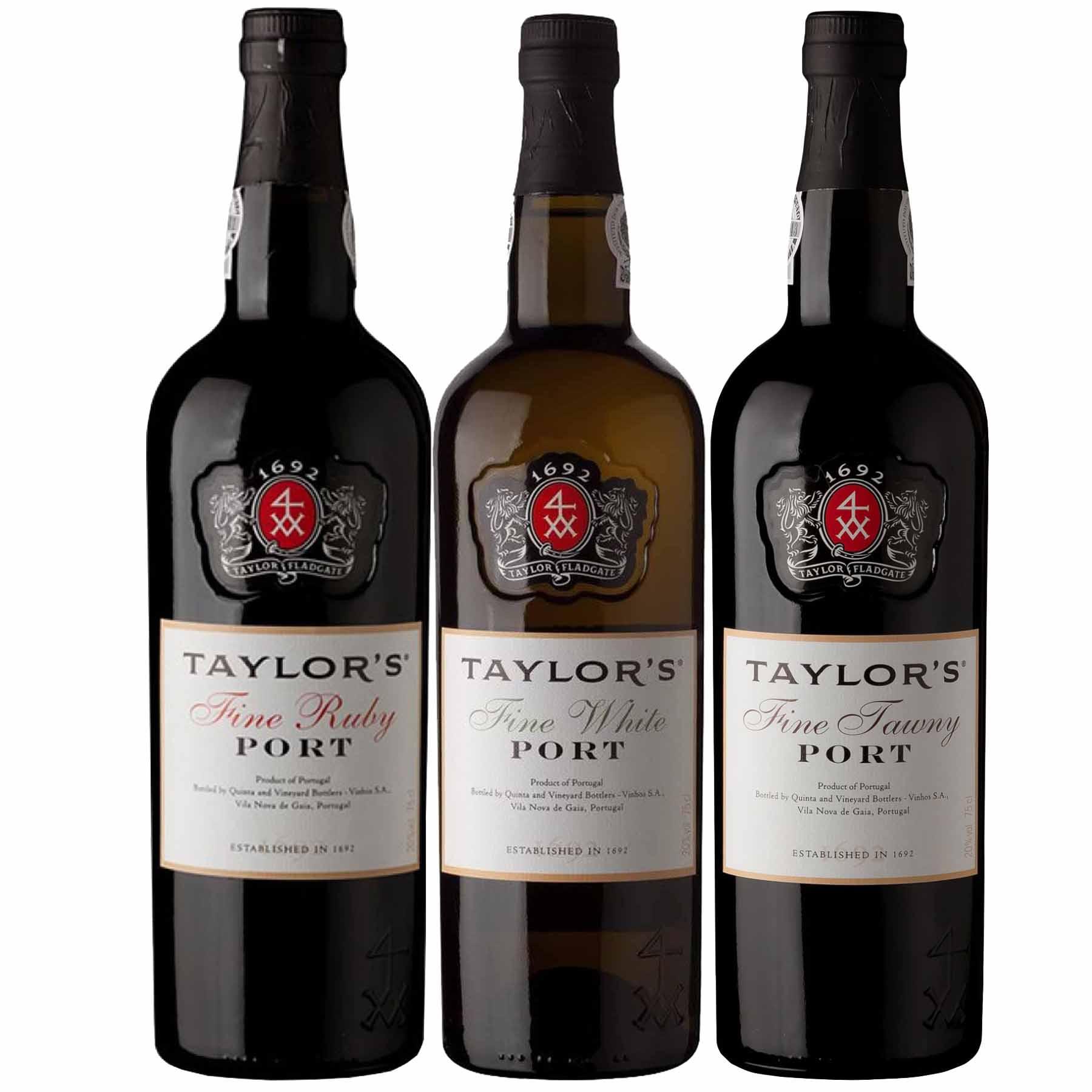 Kit 3x Vinho do Porto Taylor's White Fine + Tawny + Ruby