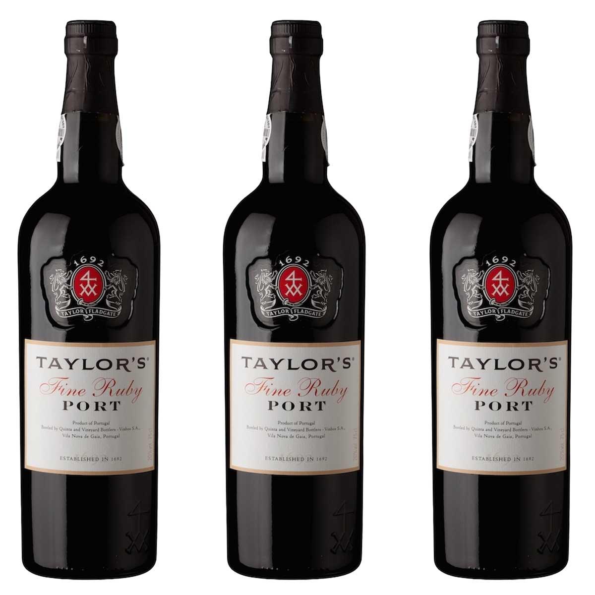 Kit 3x Vinho do Porto Tinto Ruby Taylor's Português