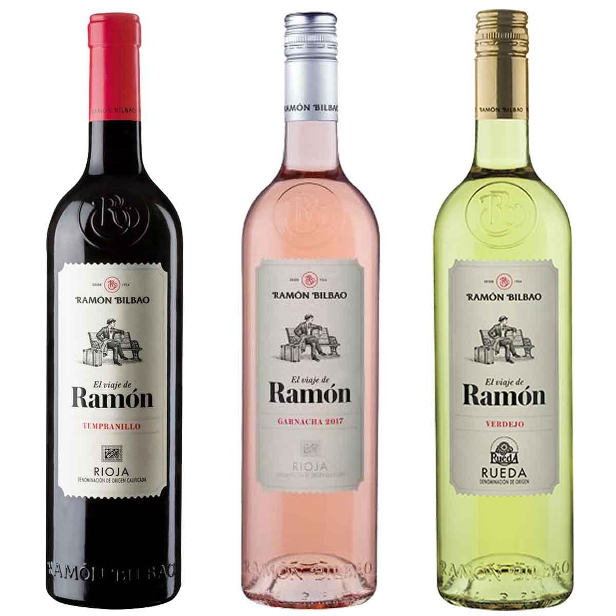 Kit 3x Vinho Espanhol El Viaje de Ramón Rose, Tinto e Branco