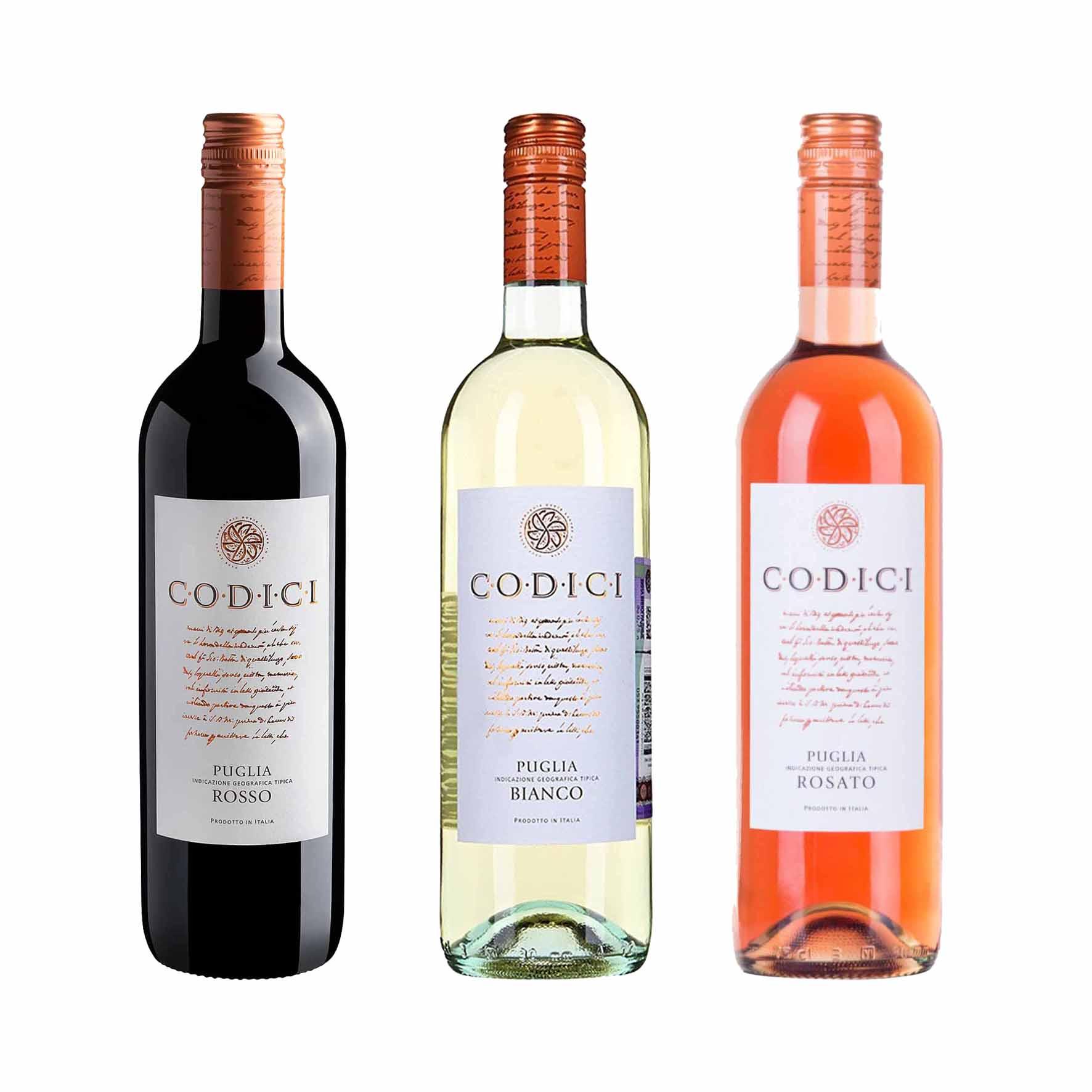 Kit 3x Vinho Italiano Tinto/Branco/Rosé Codici Rosso/Bianco/Rosato Puglia IGT