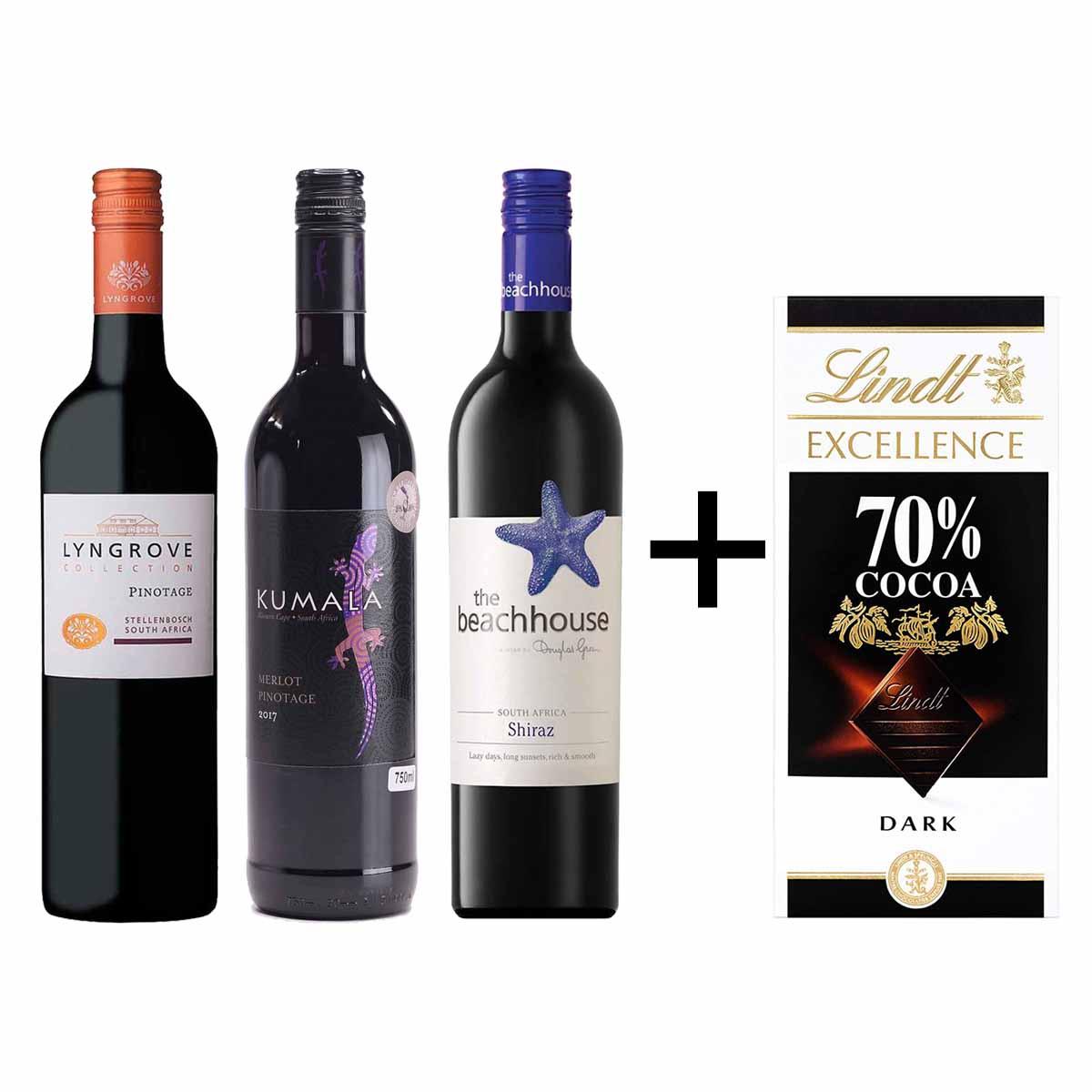 Kit 3x Vinho Sul-Africano Lyngrove/Kumala/Beachhouse + Lindt 70%
