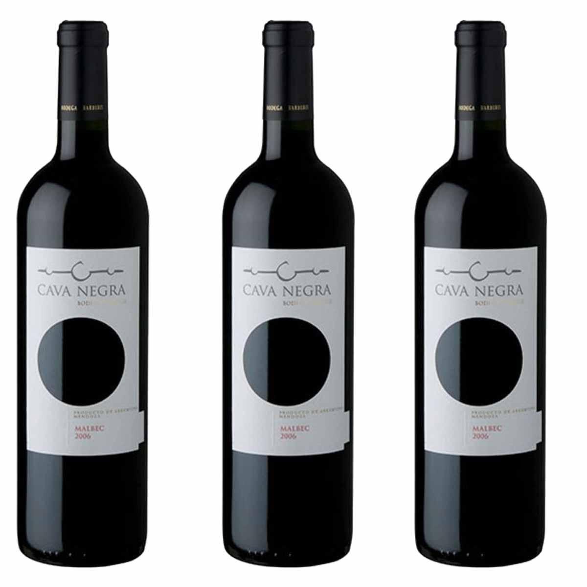 Kit 3x Vinho Tinto Argentino Cava Negra Malbec 2019