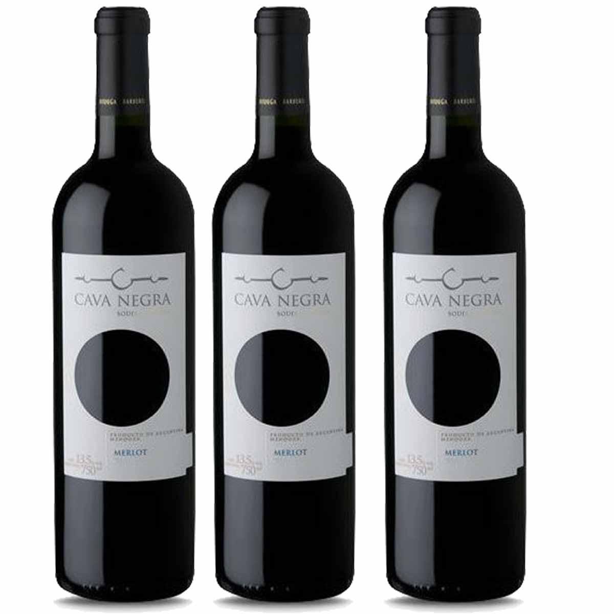 Kit 3x Vinho Tinto Argentino Cava Negra Merlot 2019