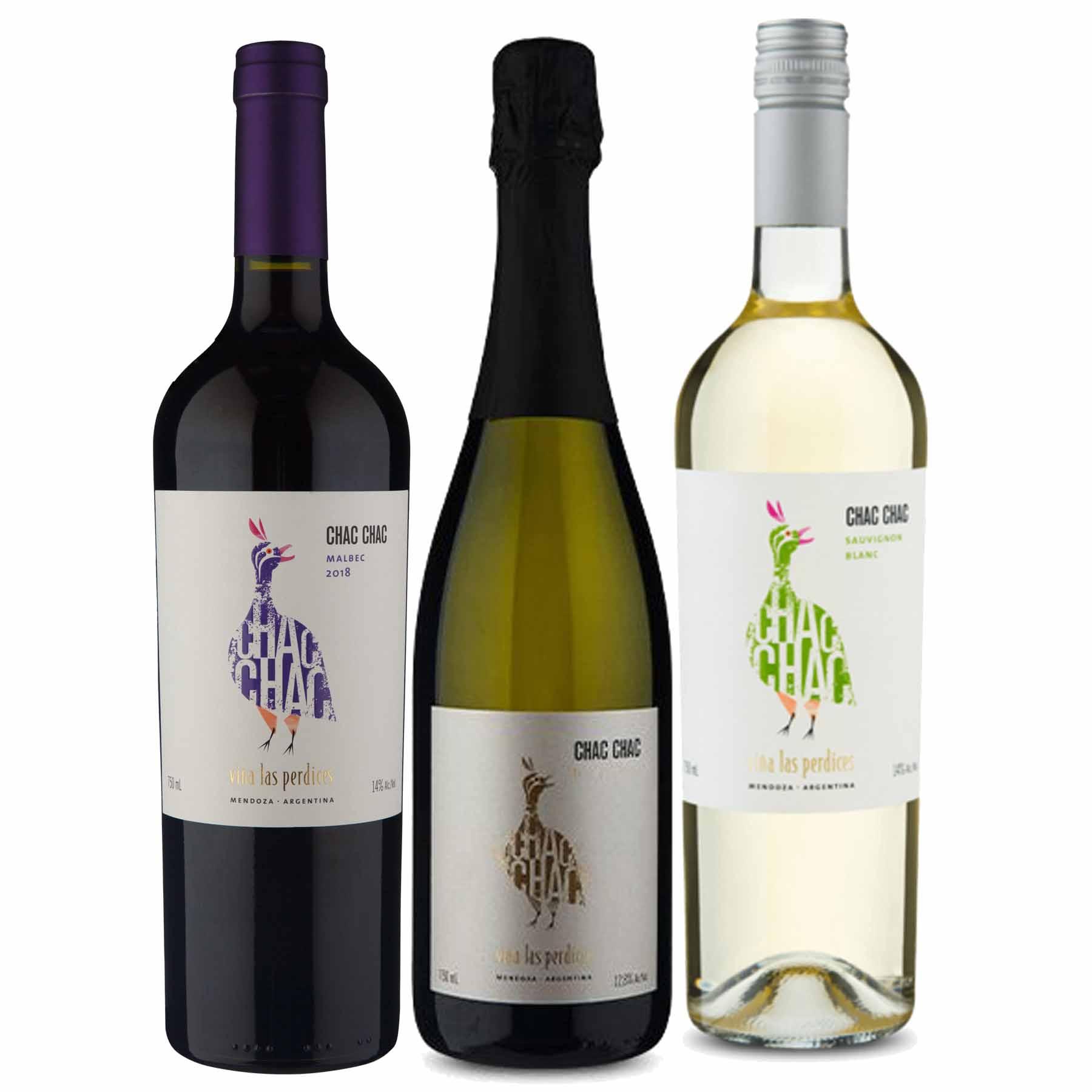 Kit 3x Vinho Tinto Argentino ChacChac Tinto/Branco/Espumante