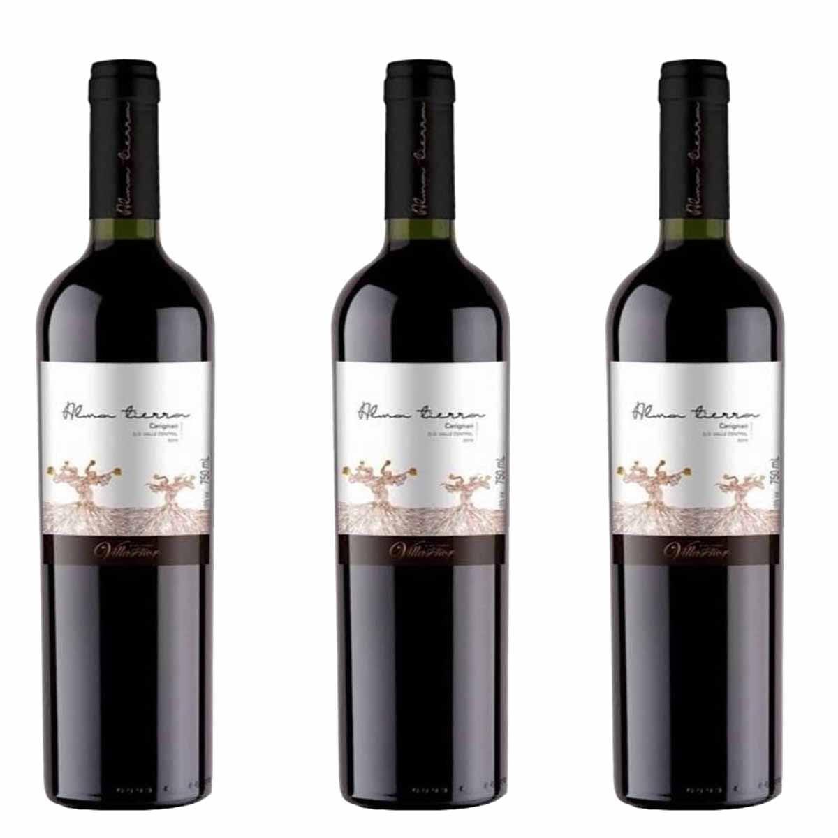 Kit 3x Vinho Tinto Chileno Alma Tierra Carmenere 2019