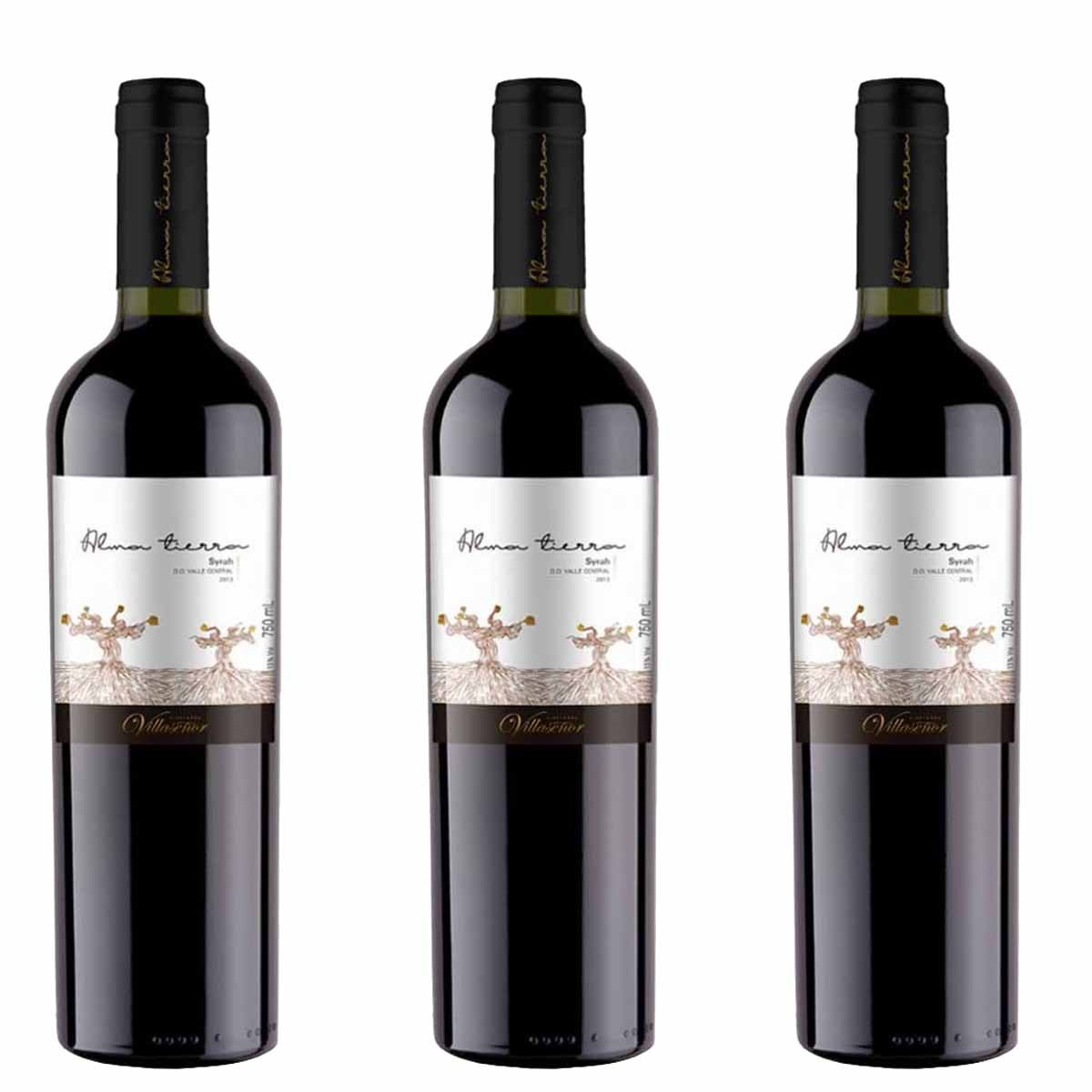 Kit 3x Vinho Tinto Chileno Alma Tierra Syrah 2018