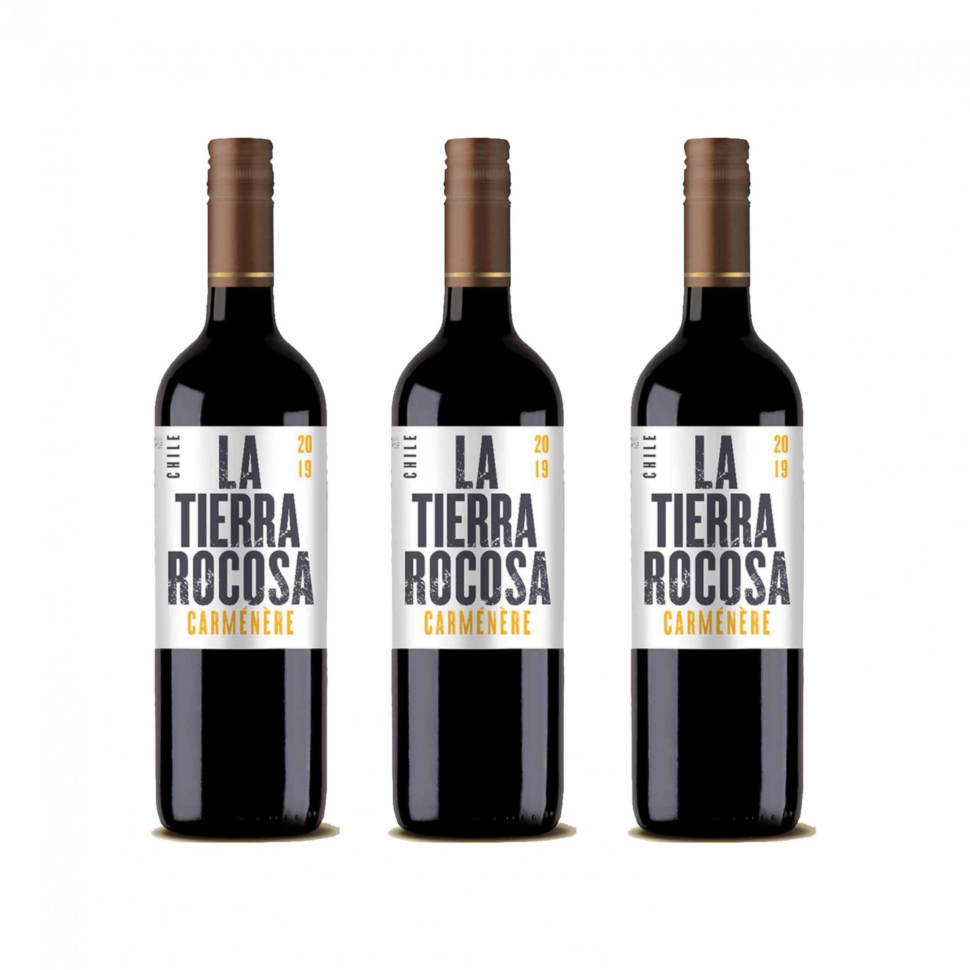 Kit 3x Vinho Tinto Chileno La Tierra Rocosa Camenere 2020