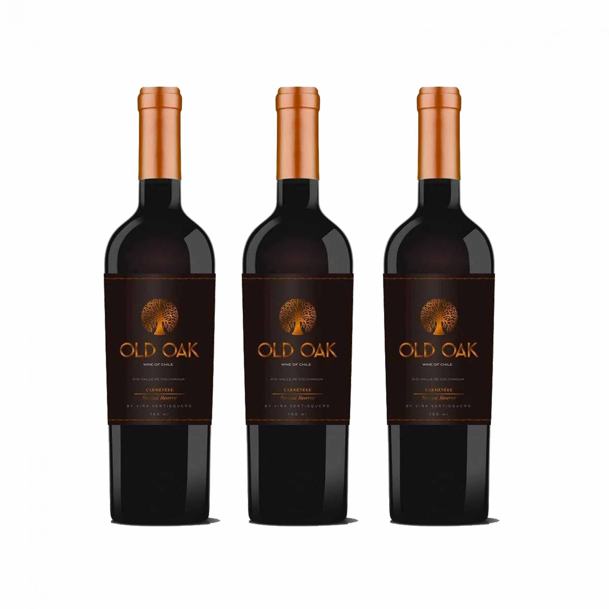 Kit 3x Vinho Tinto Chileno Old Oak Special Reserve Carmenere 2018