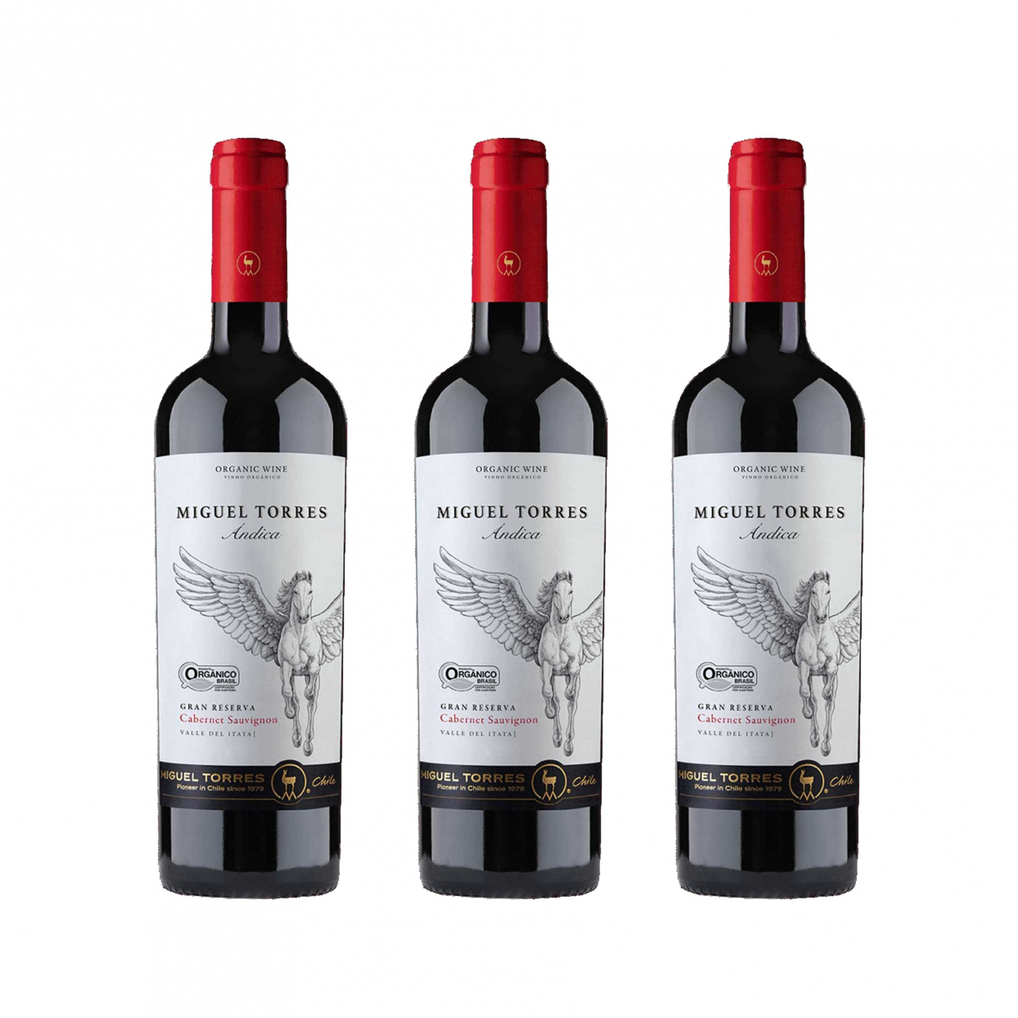 Kit 3x Vinho Tinto Chileno Orgânico Miguel Torres Cabernet Sauvignon 2019