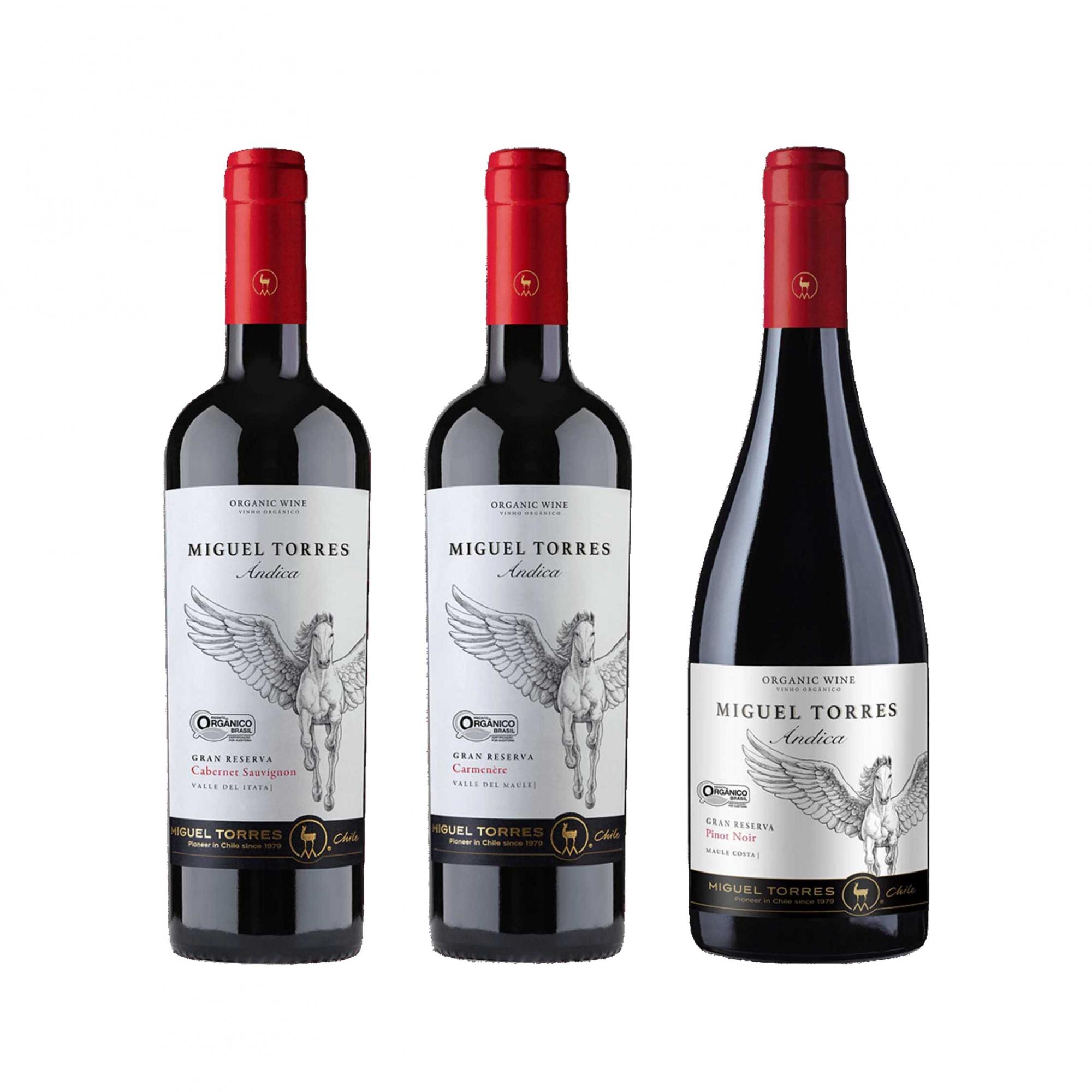 Kit 3x Vinho Tinto Chileno Orgânico Miguel Torres Cabernet Sauvignon, Carmenere e Pinot Noir 2019