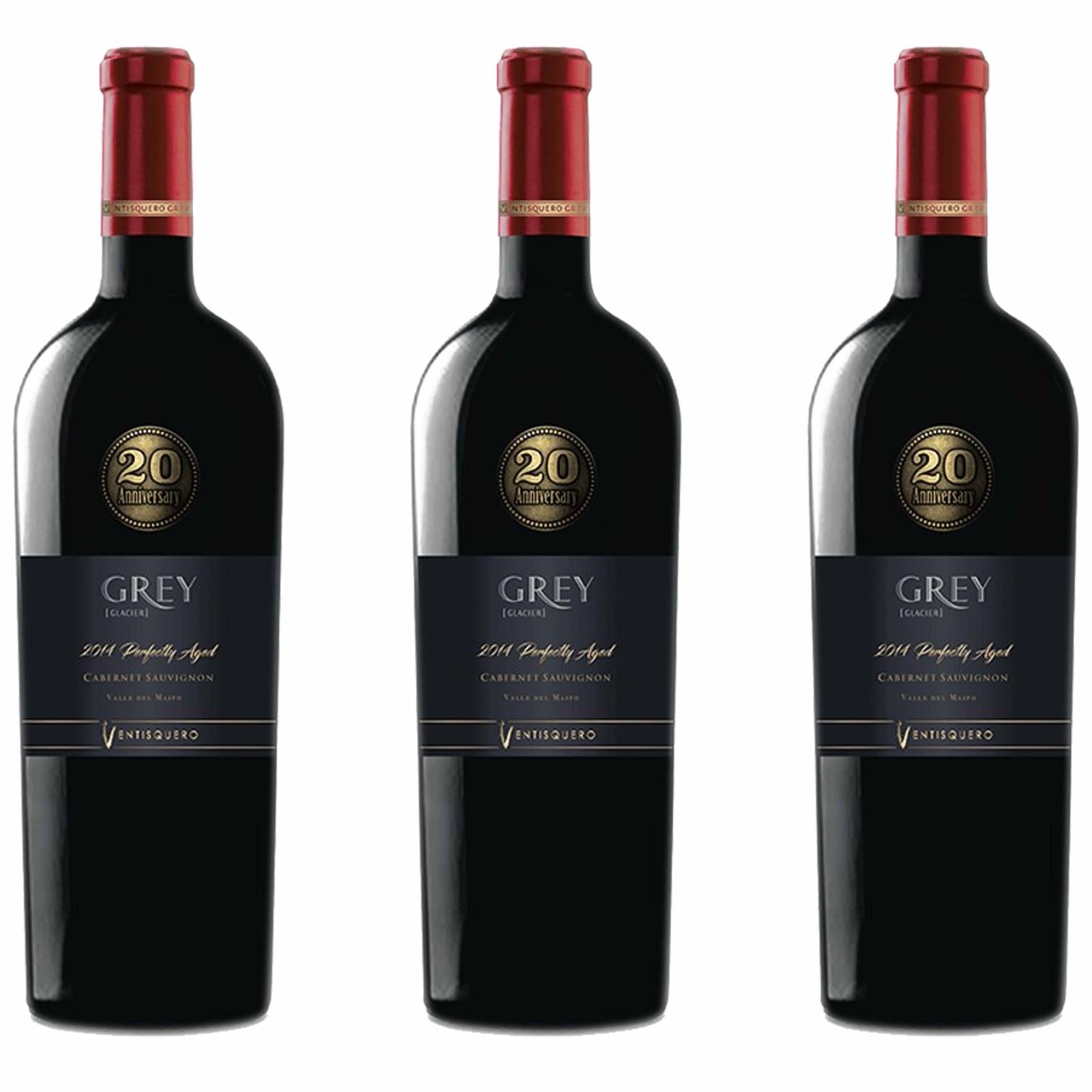 Kit 3x Vinho Tinto Chileno Ventisquero Grey Special Edition Cabernet Sauvignon 2014 750ml