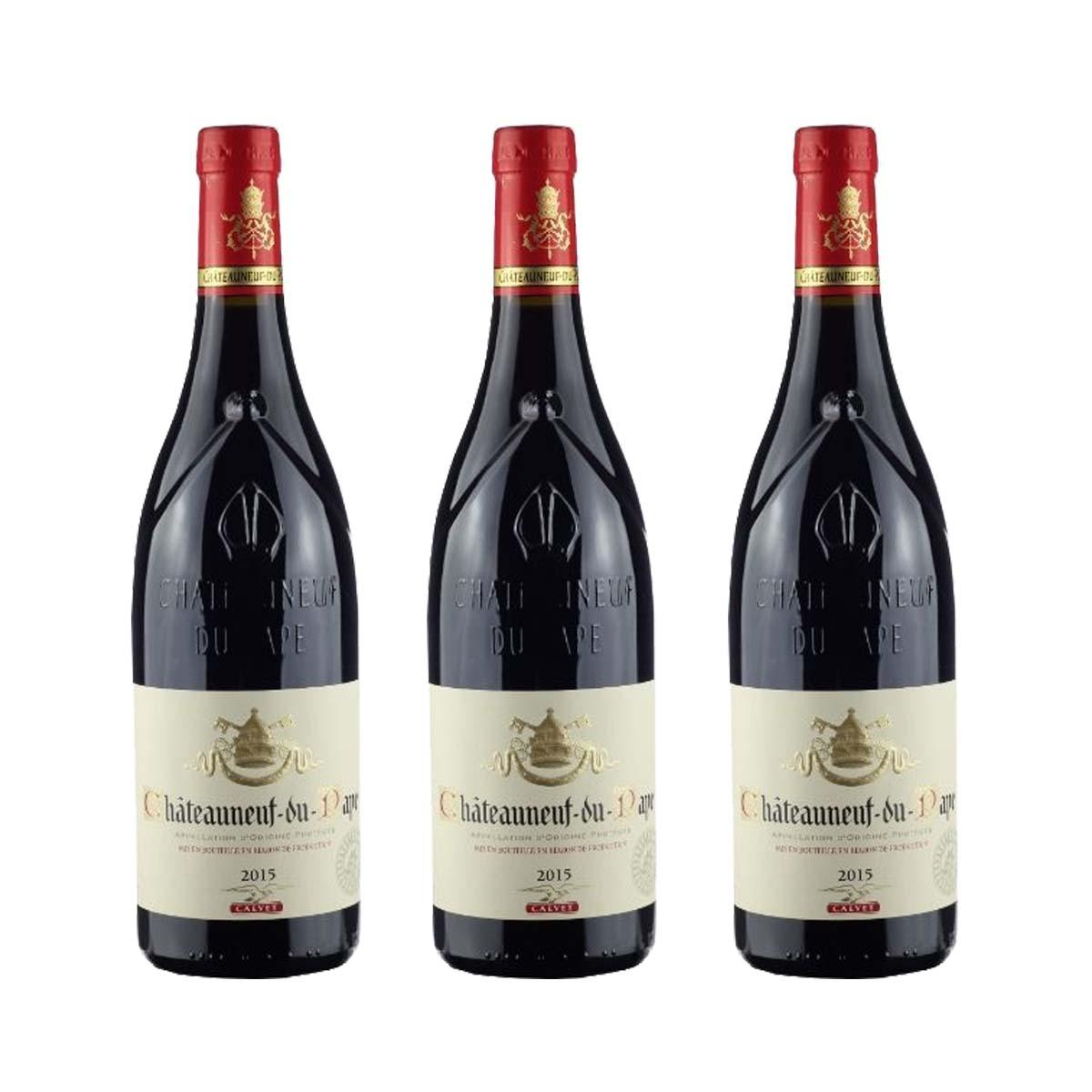 Kit 3x Vinho Tinto Francês Calvet Chateauneuf Du Pape 750ml 2018