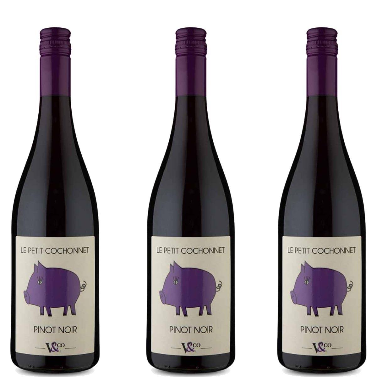 Kit 3x Vinho Tinto Francês Petit Cochonnet Pinot Noir 2019
