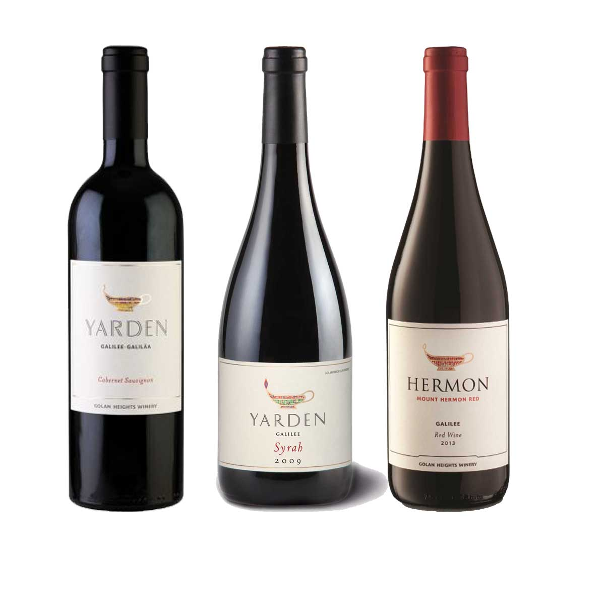 Kit 3x Vinho Tinto Israelense Kosher Yarden Mount Hermon/Cabernet Sauvginon/Syrah
