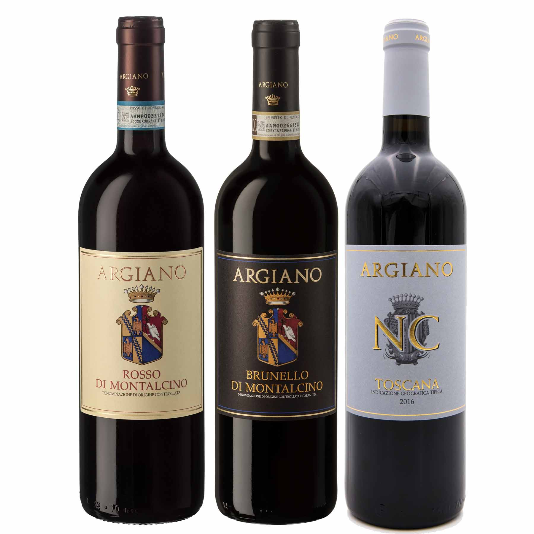 Kit 3x Vinho Tinto Italiano Argiano Toscana: Brunello/Rosso di Montalcino e NC Toscana
