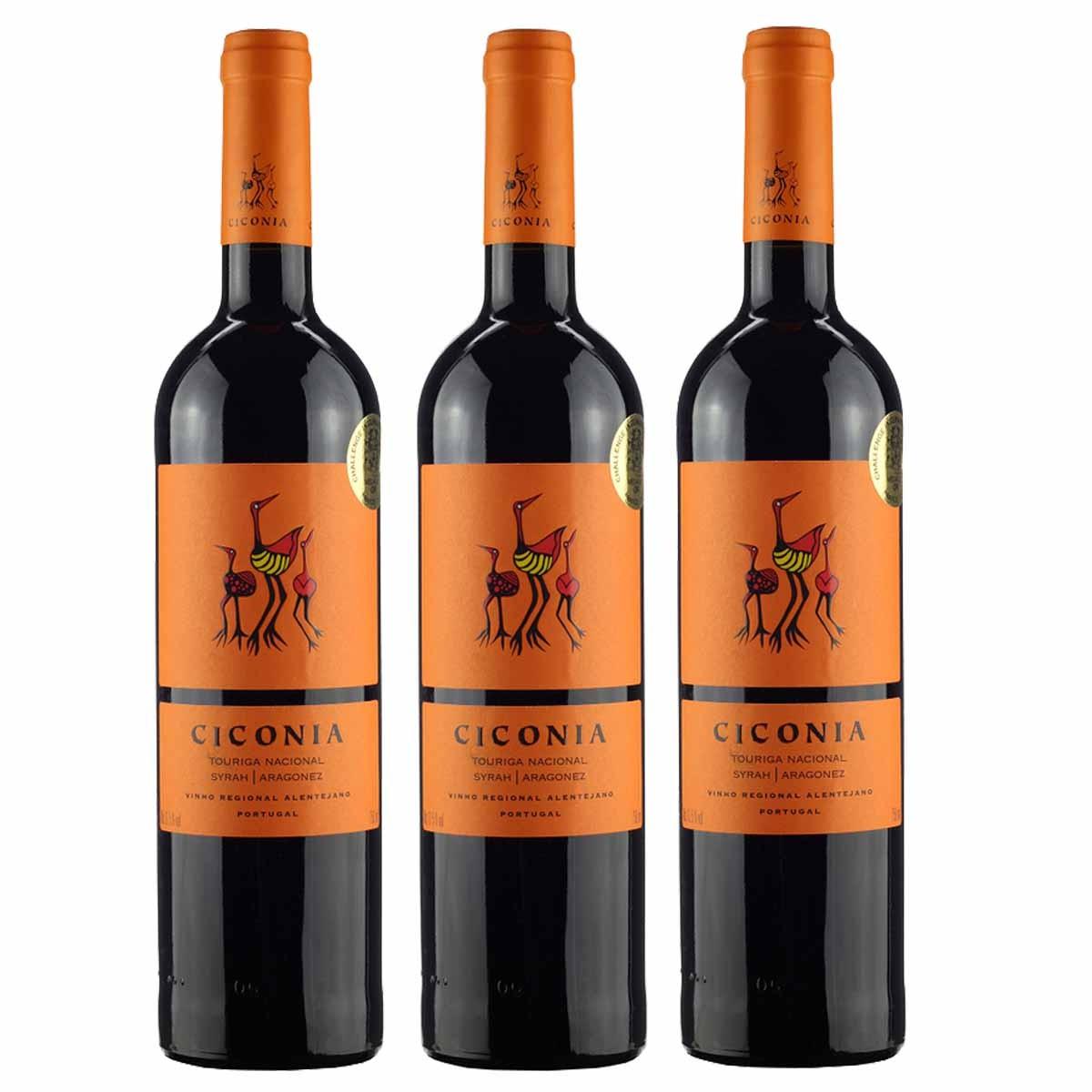 Kit 3x Vinho Tinto Português Ciconia Regional Alentejano