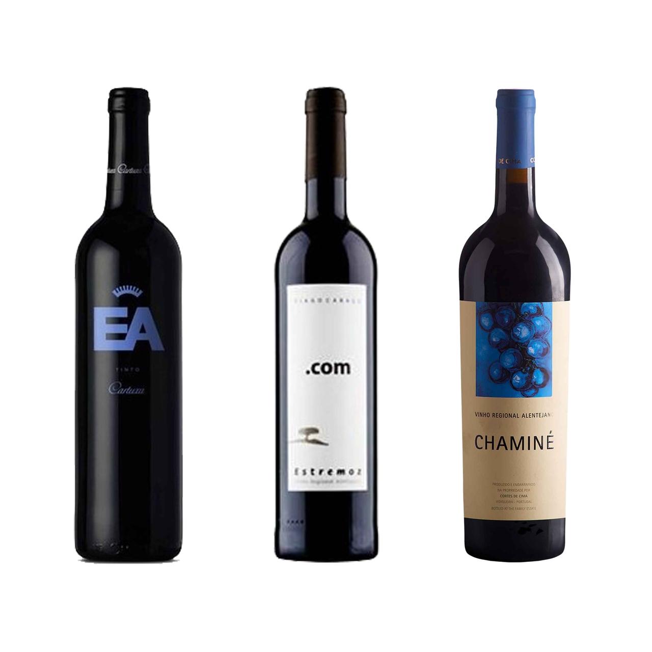 Kit 3x Vinhos Tinto Português Cartuxa EA, Tiago Cabaço.com e Chaminé 750ml