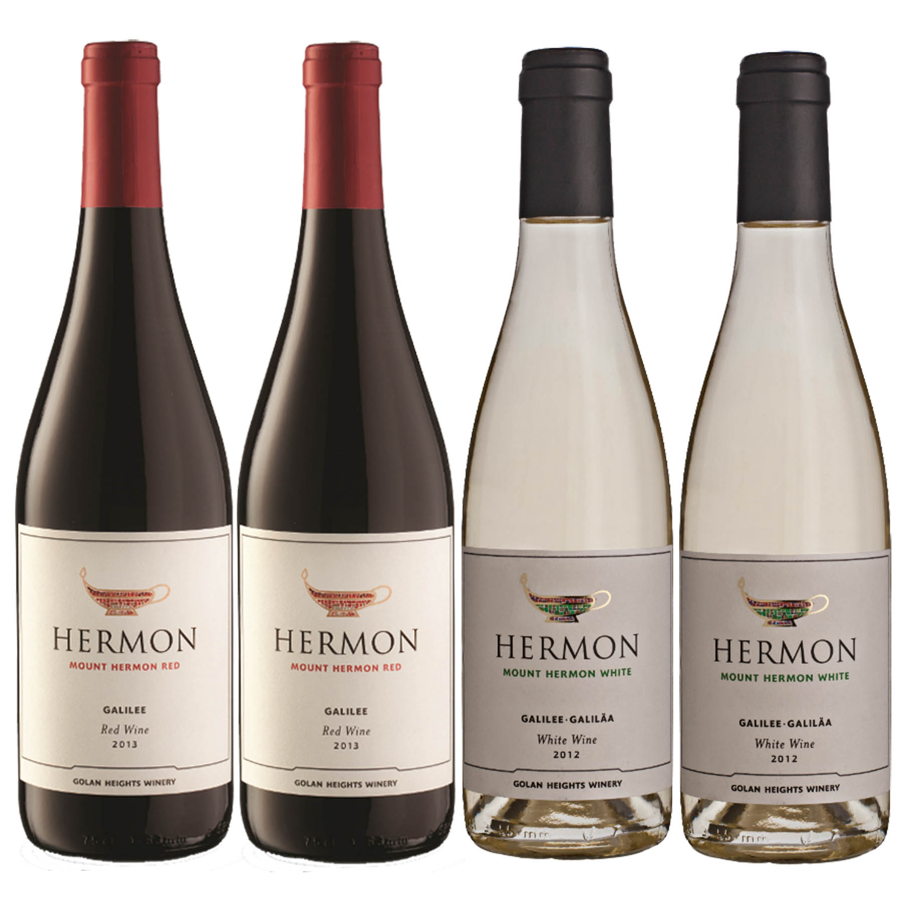 Kit 4 Vinho Branco/Tinto Israelense Kosher Hermon Yarden Golan Heights 2018