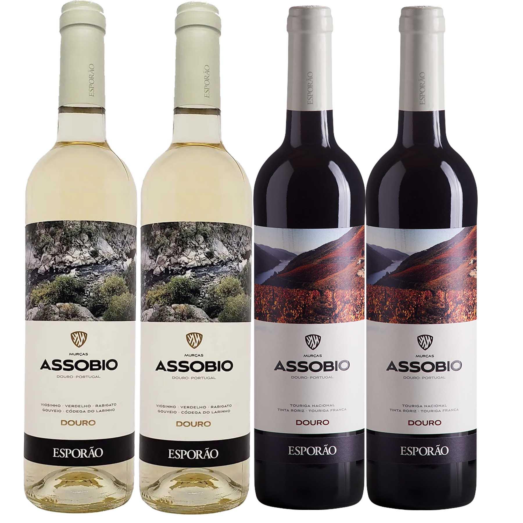 Kit 4 Vinho Branco/Tinto Português Esporão Assobio Douro