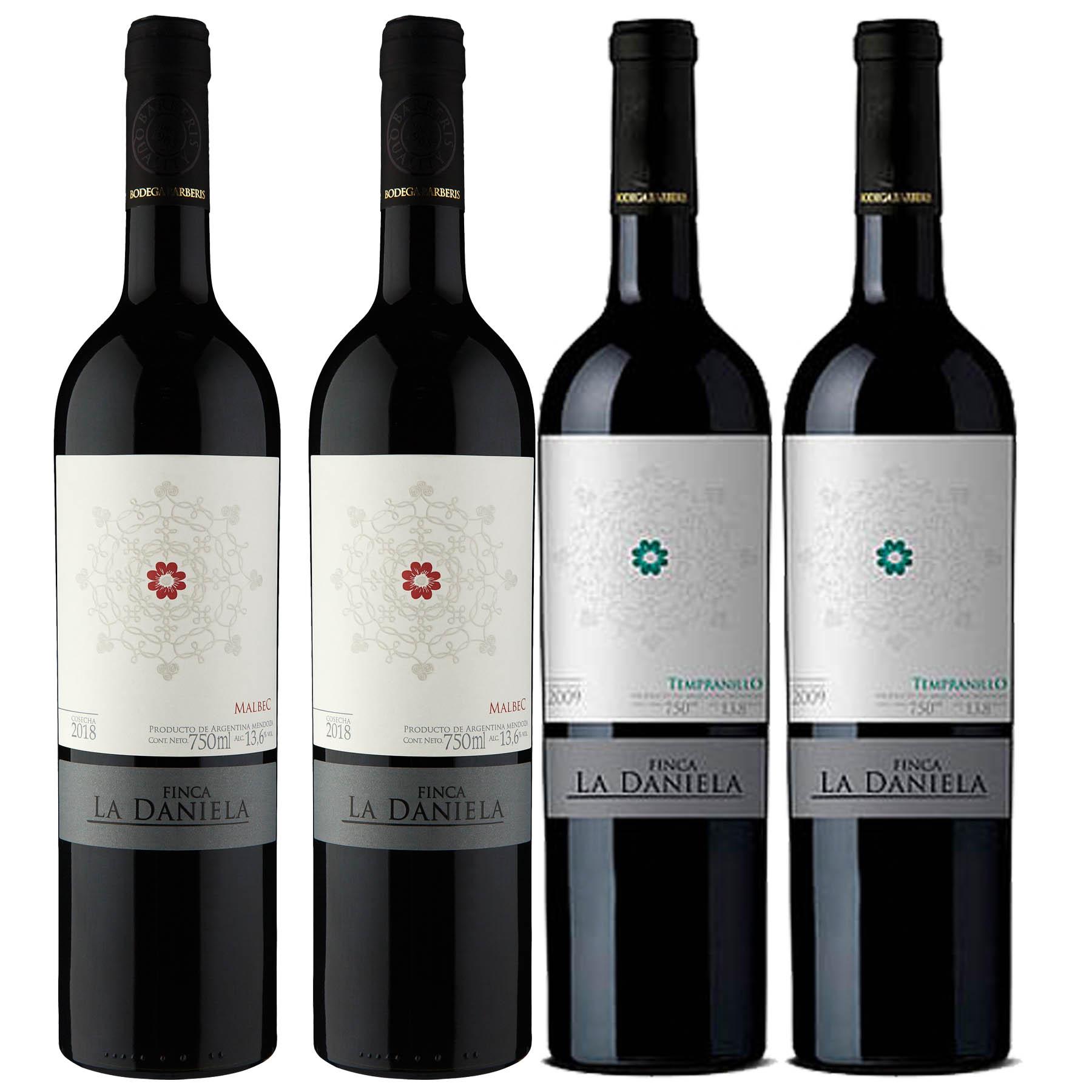 Kit 4 Vinho Tinto Argentino Finca La Daniela Tempranillo/Malbec