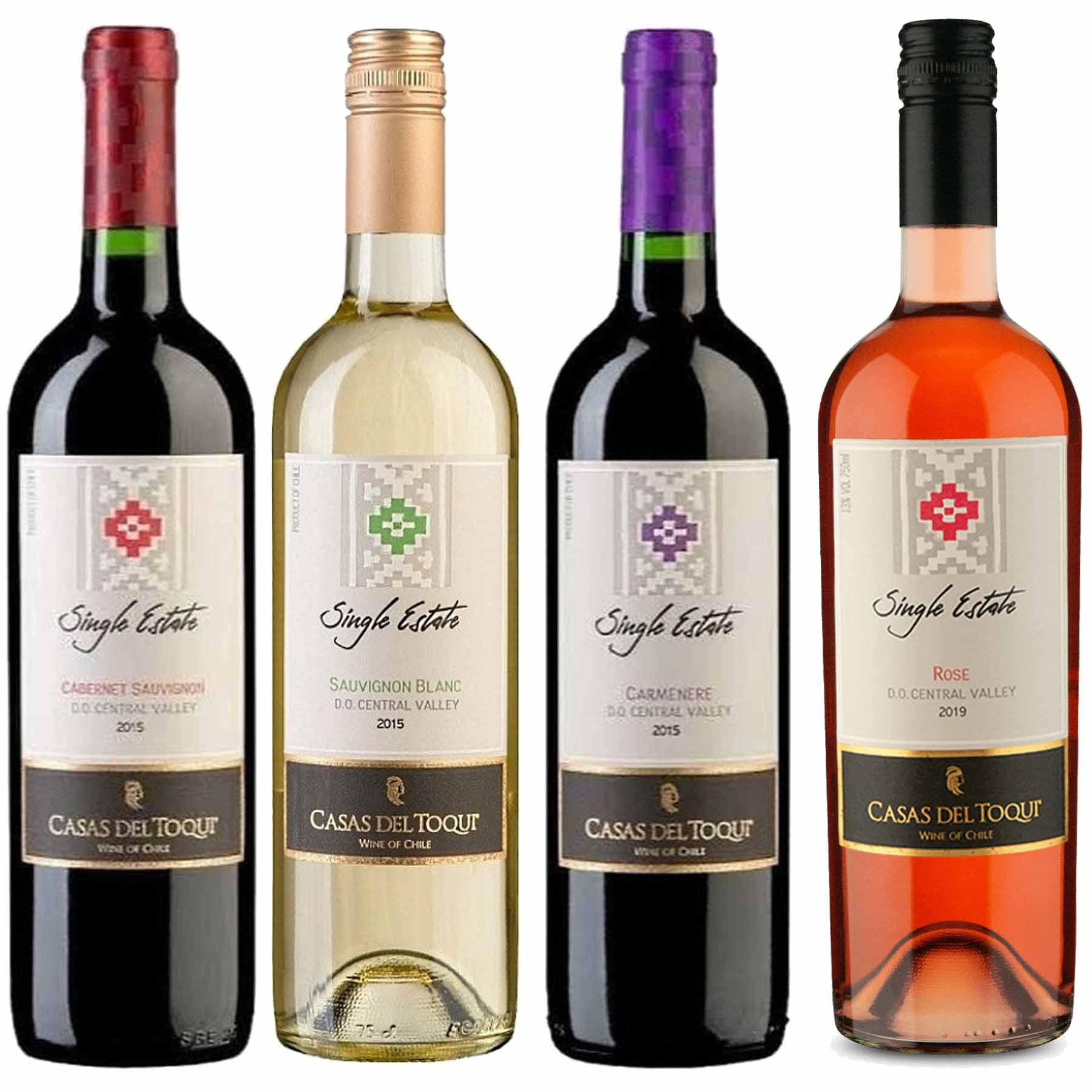Kit 4 Vinhos Chileno Casas Del Toqui 2 Tinto 1 Branco 1 Rosé