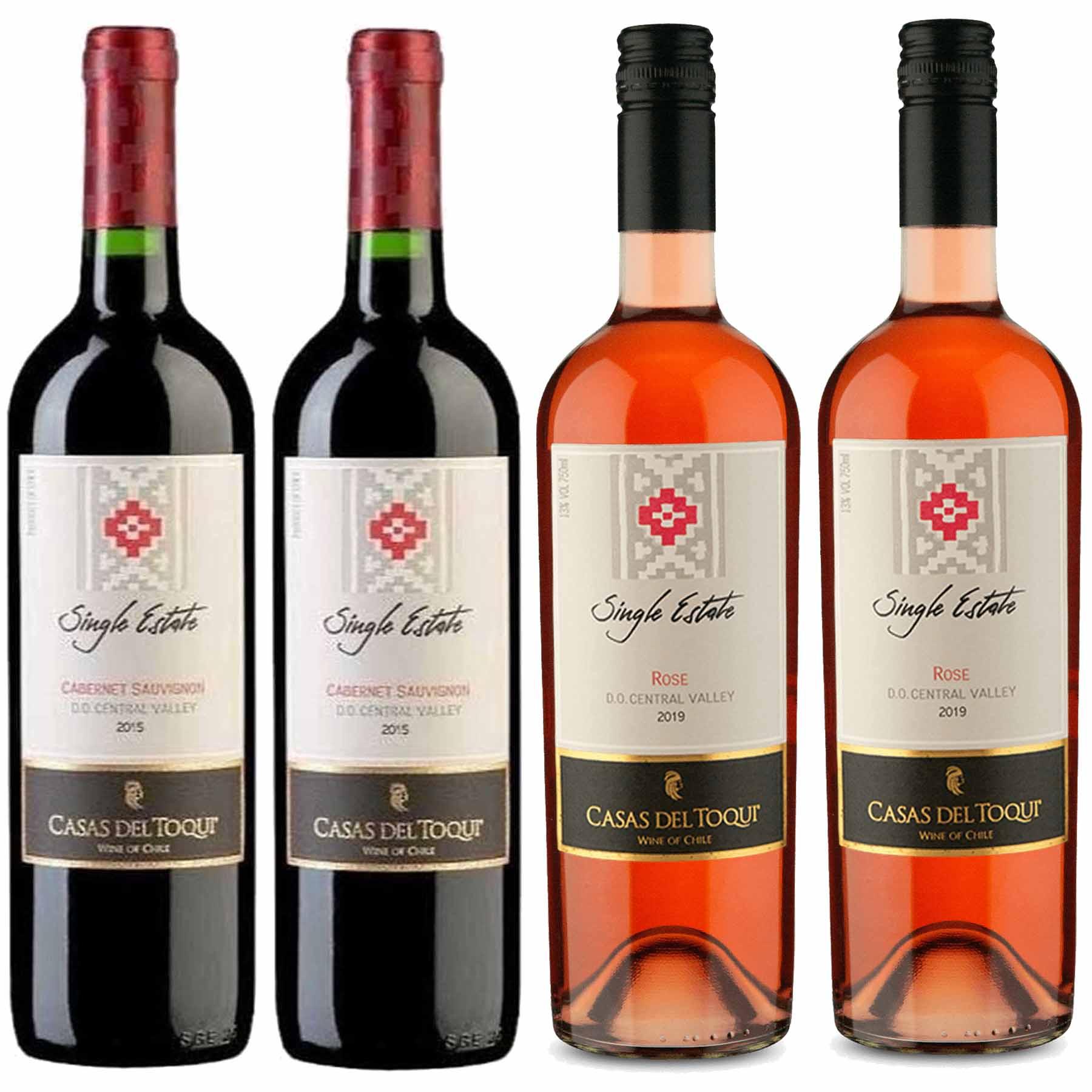 Kit 4 Vinhos Chileno Casas Del Toqui Cabernet Sauvignon/Rosé