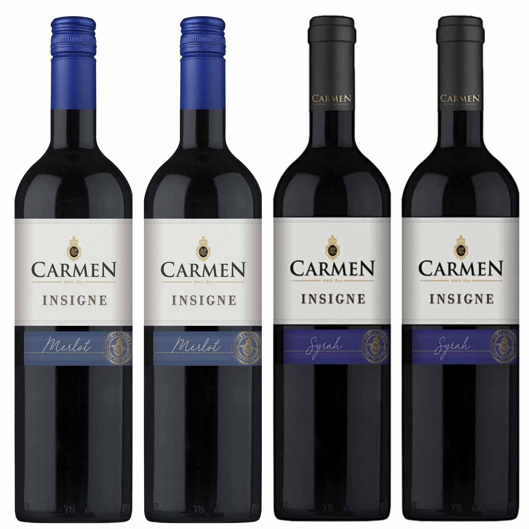 Kit 4 Vinhos Chilenos Carmen Insigne Syrah e Merlot