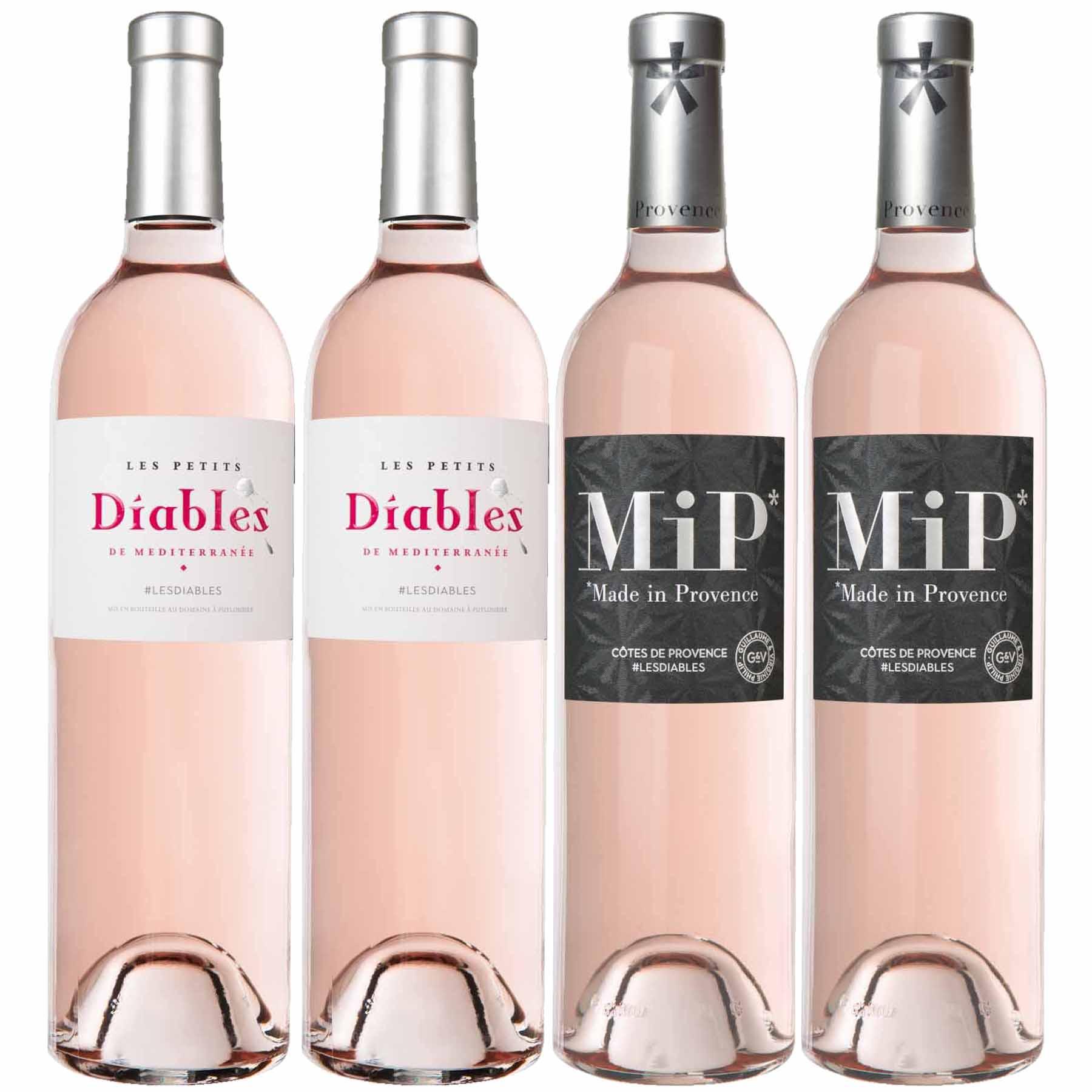 Kit 4 Vinhos de Provence MiP e Le Petits Diables França Rosé