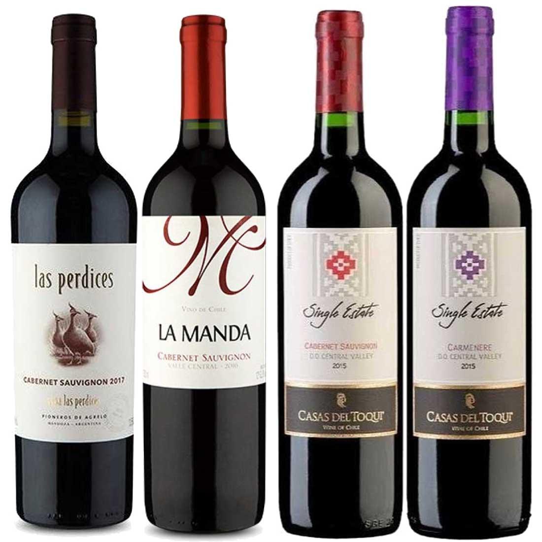 Kit 4 Vinhos Novo Mundo Tinto Chile e Argentina
