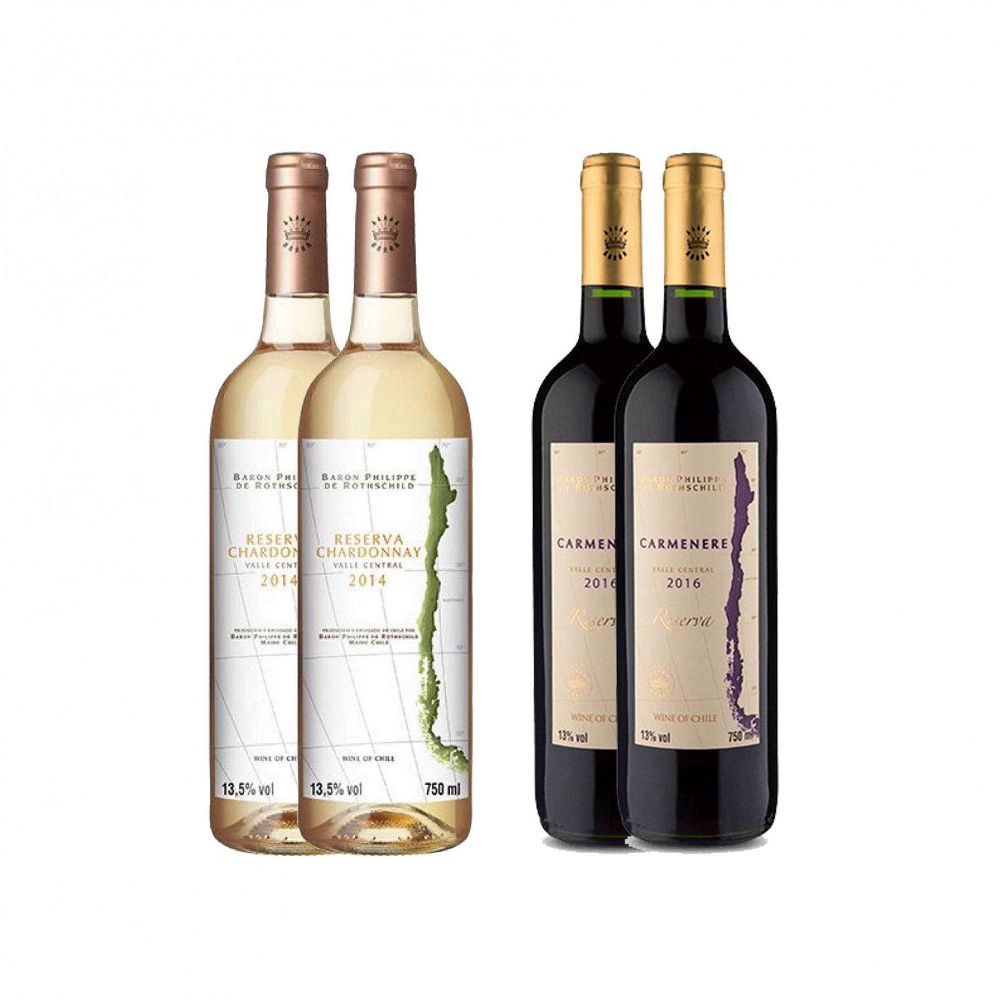 Kit 4x Vinho Branco/Tinto Chileno Baron Philippe de Rothschild Chardonnay/Carmenere 750ml