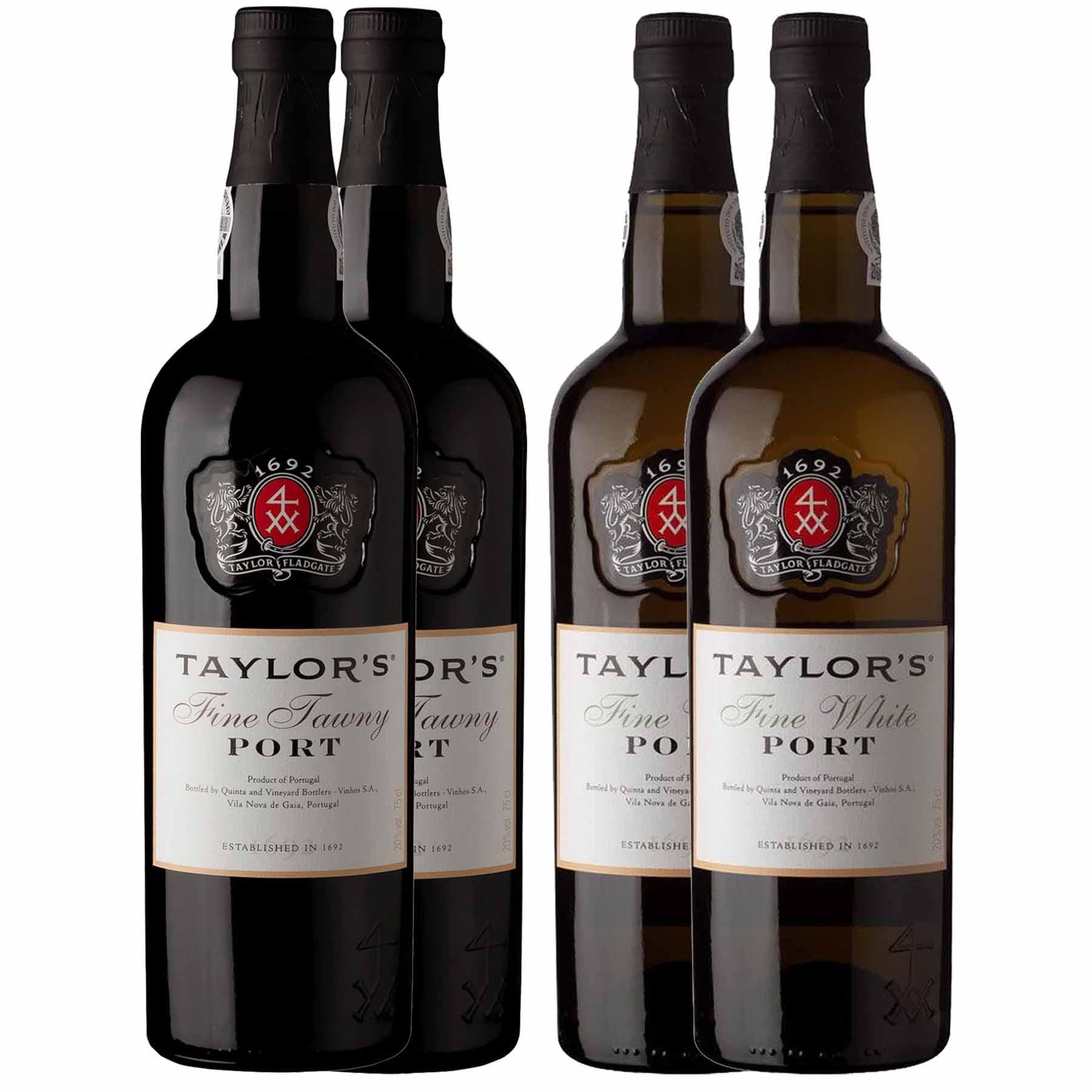 Kit 4x Vinho do Porto Taylor's White Fine + Tawny 750ml