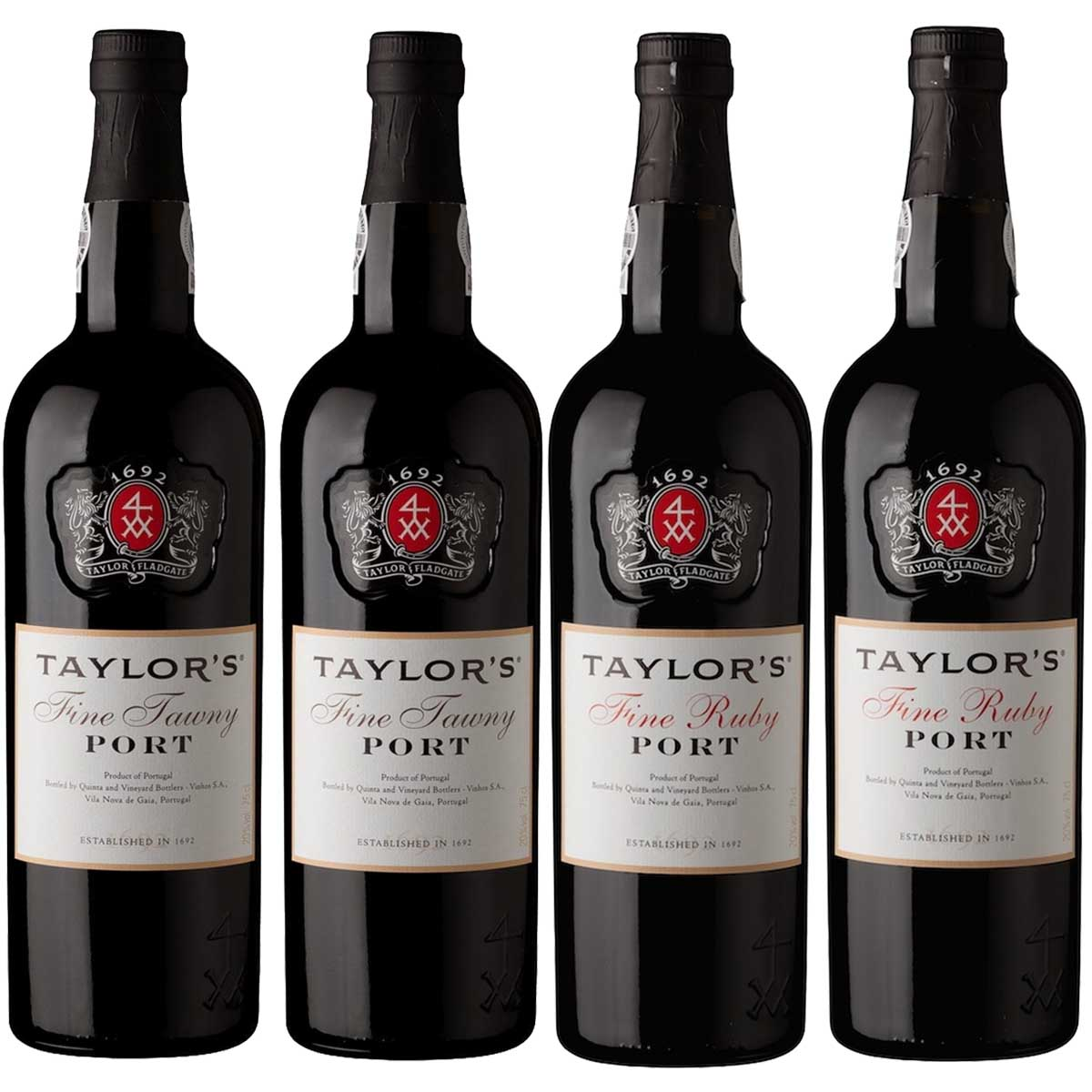 Kit 4x Vinho do Porto Tinto Ruby e Tawny Taylor's Português
