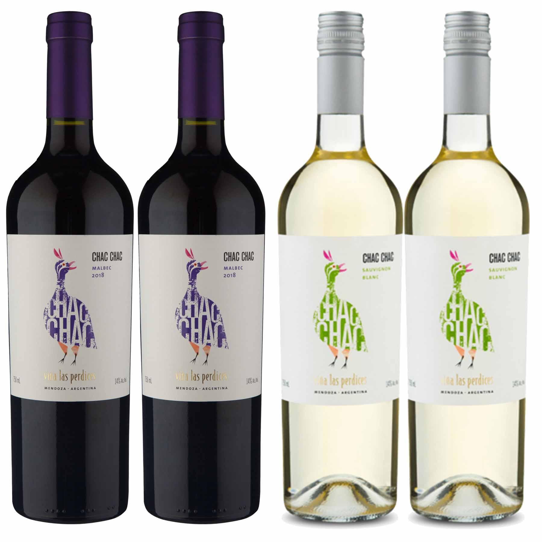 Kit 4x Vinho Tinto Argentino ChacChac Malbec/Sauvignon Blanc