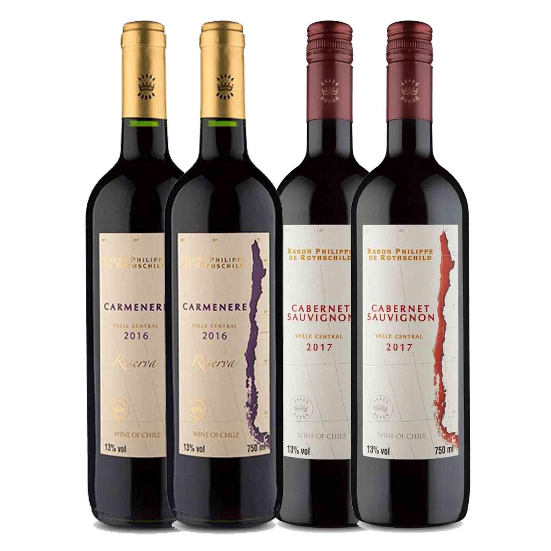 Kit 4x Vinho Tinto Chileno Baron Philippe de Rothschild Reserva Carmenere e Cabernet Sauvignon 750ml
