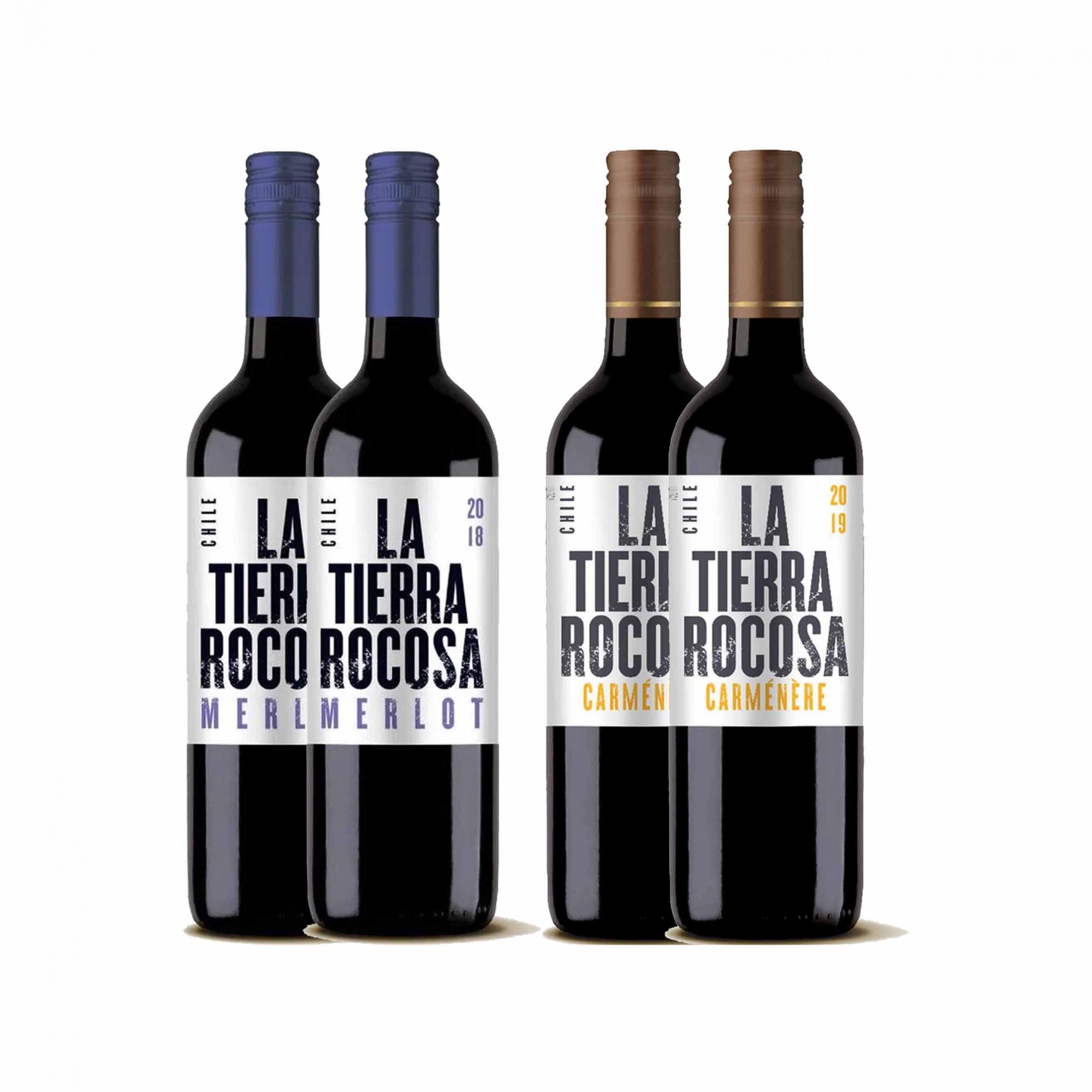 Kit 4x Vinho Tinto Chileno La Tierra Rocosa Camenere/Merlot