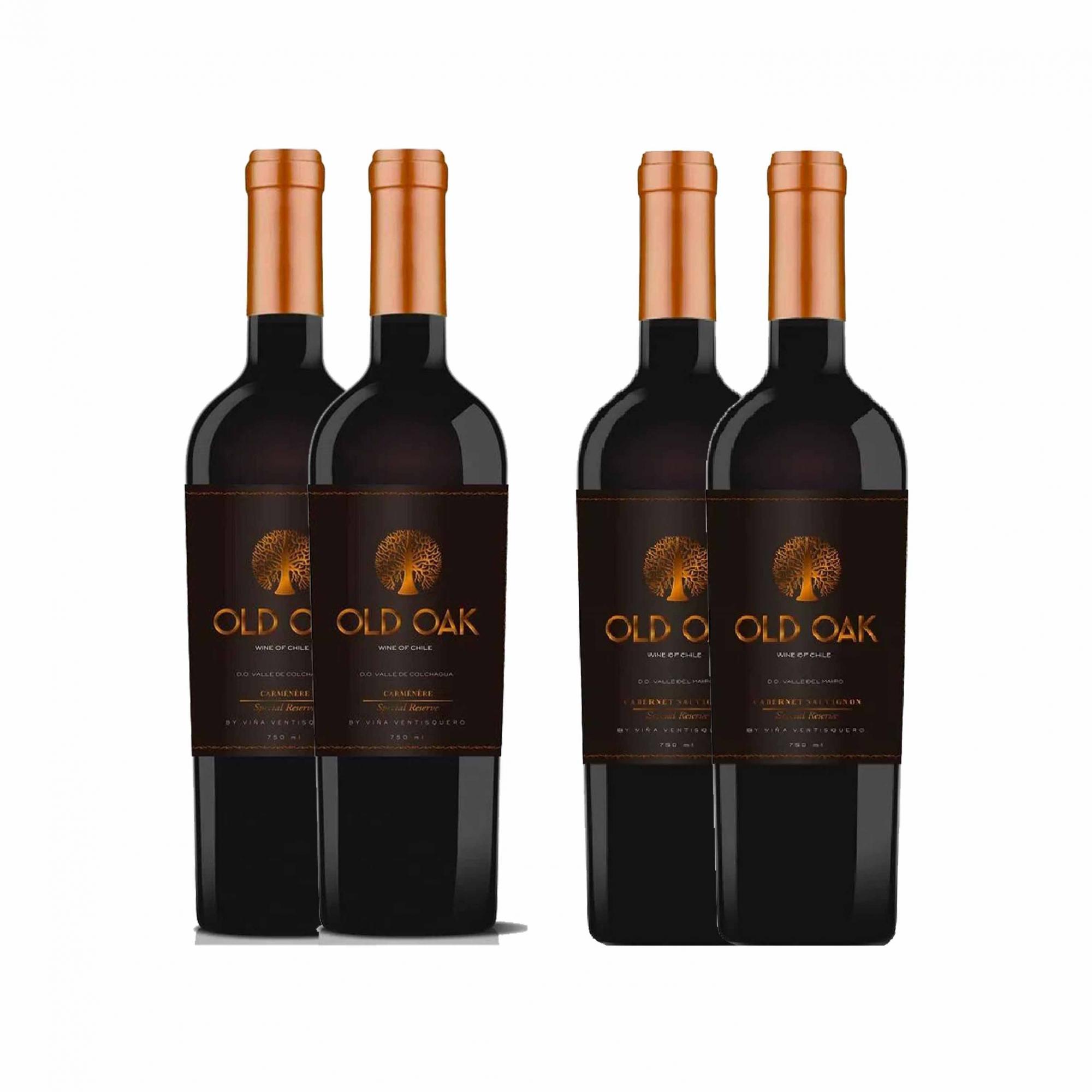 Kit 4x Vinho Tinto Chileno Old Oak Special Reserve Cabernet Sauvignon/Carmenere 2018