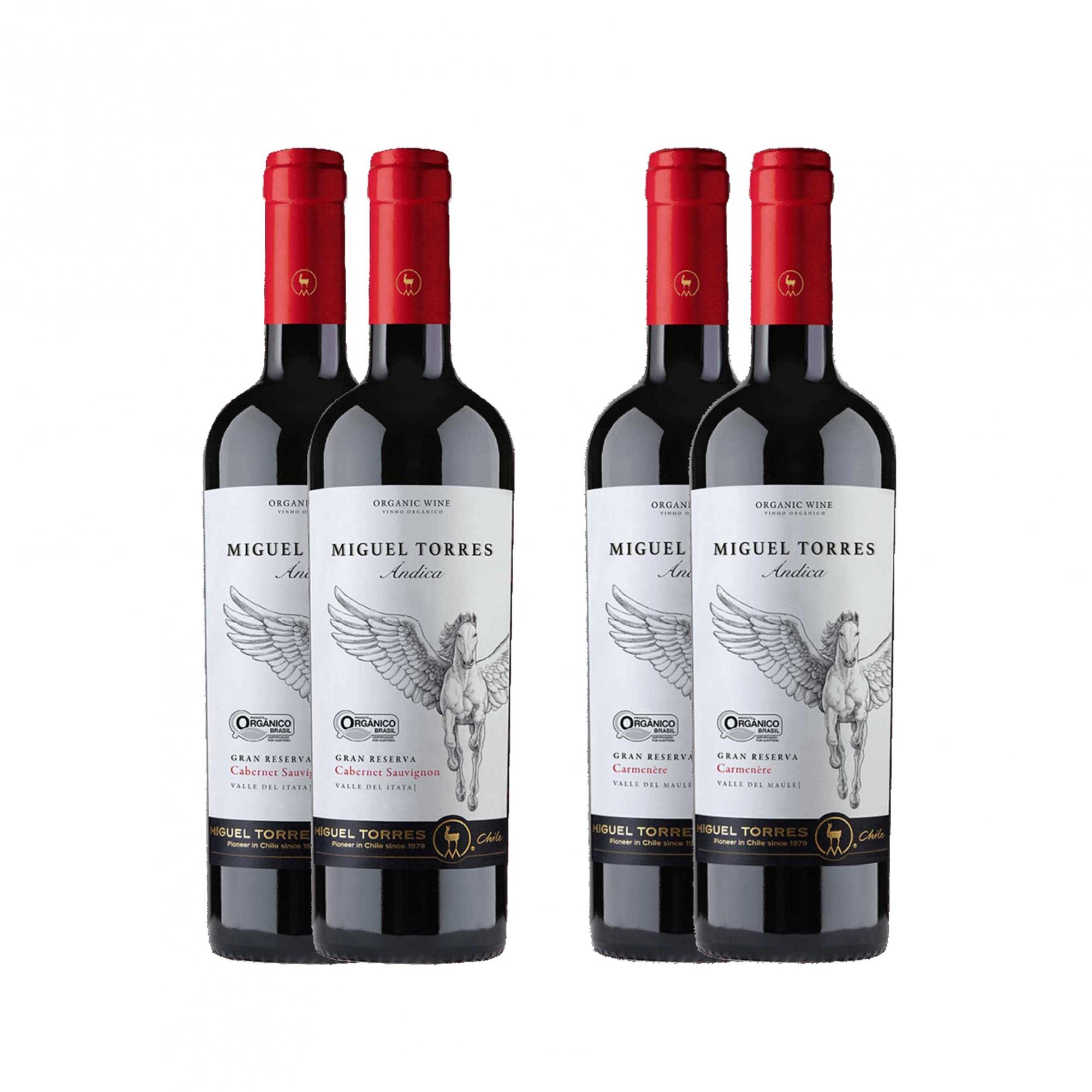 Kit 4x Vinho Tinto Chileno Orgânico Miguel Torres Cabernet Sauvignon e Carmenere 2019