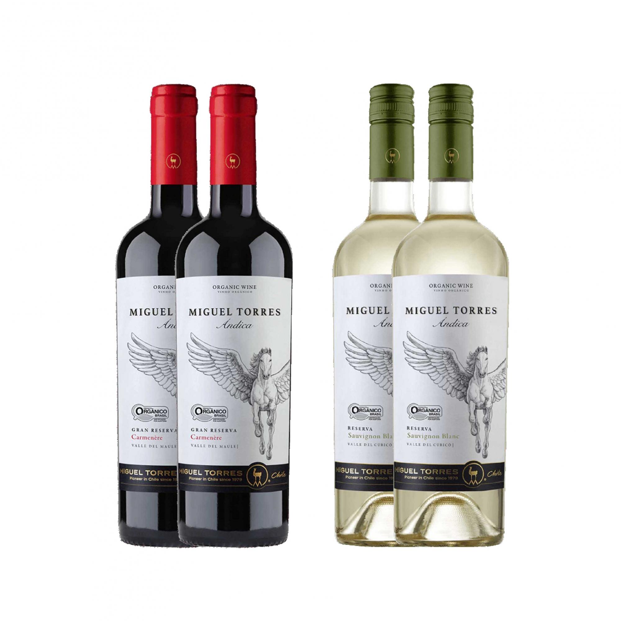 Kit 4x Vinho Tinto Chileno Orgânico Miguel Torres Carmenere e Sauvignon Blanc 2019