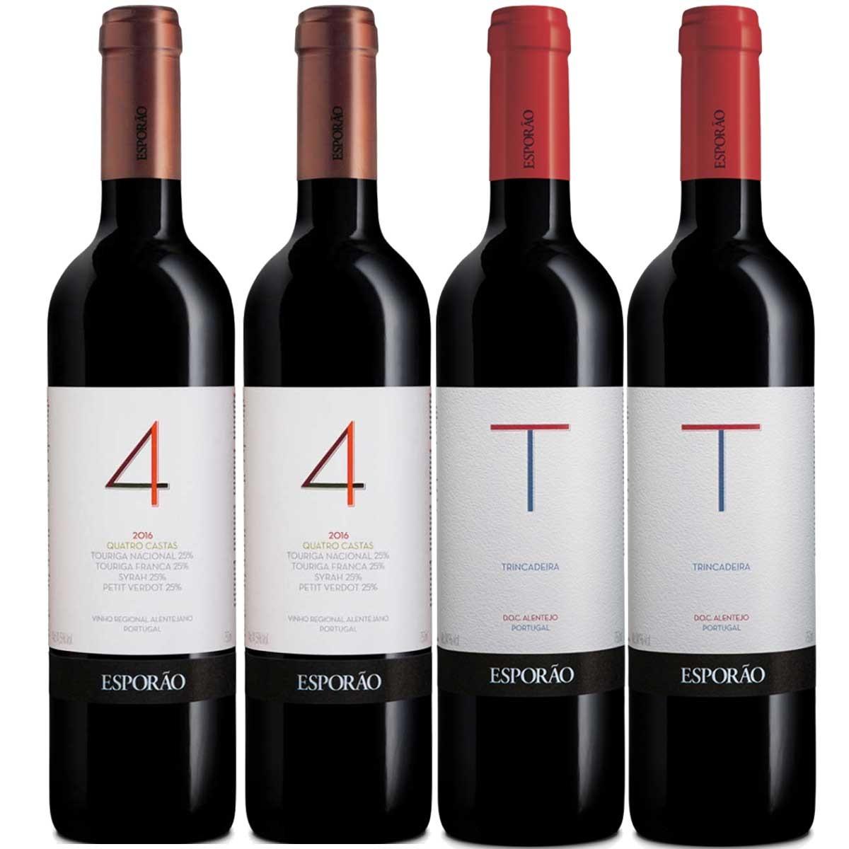 Kit 4x Vinhos: 2x Esporão 4 Castas e 2x Trincadeira Portugal