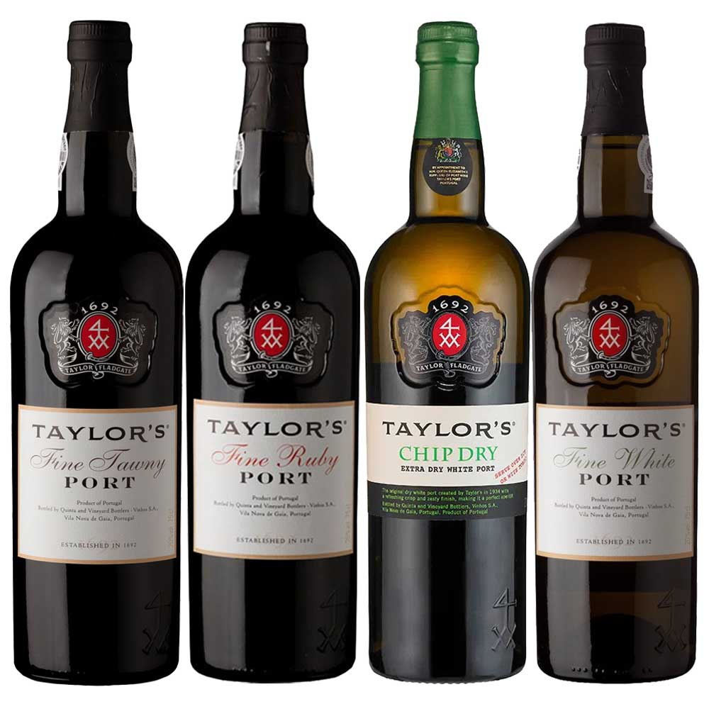Kit 4x Vinhos do Porto Taylor's Tawny/Ruby/White/Chip Dry