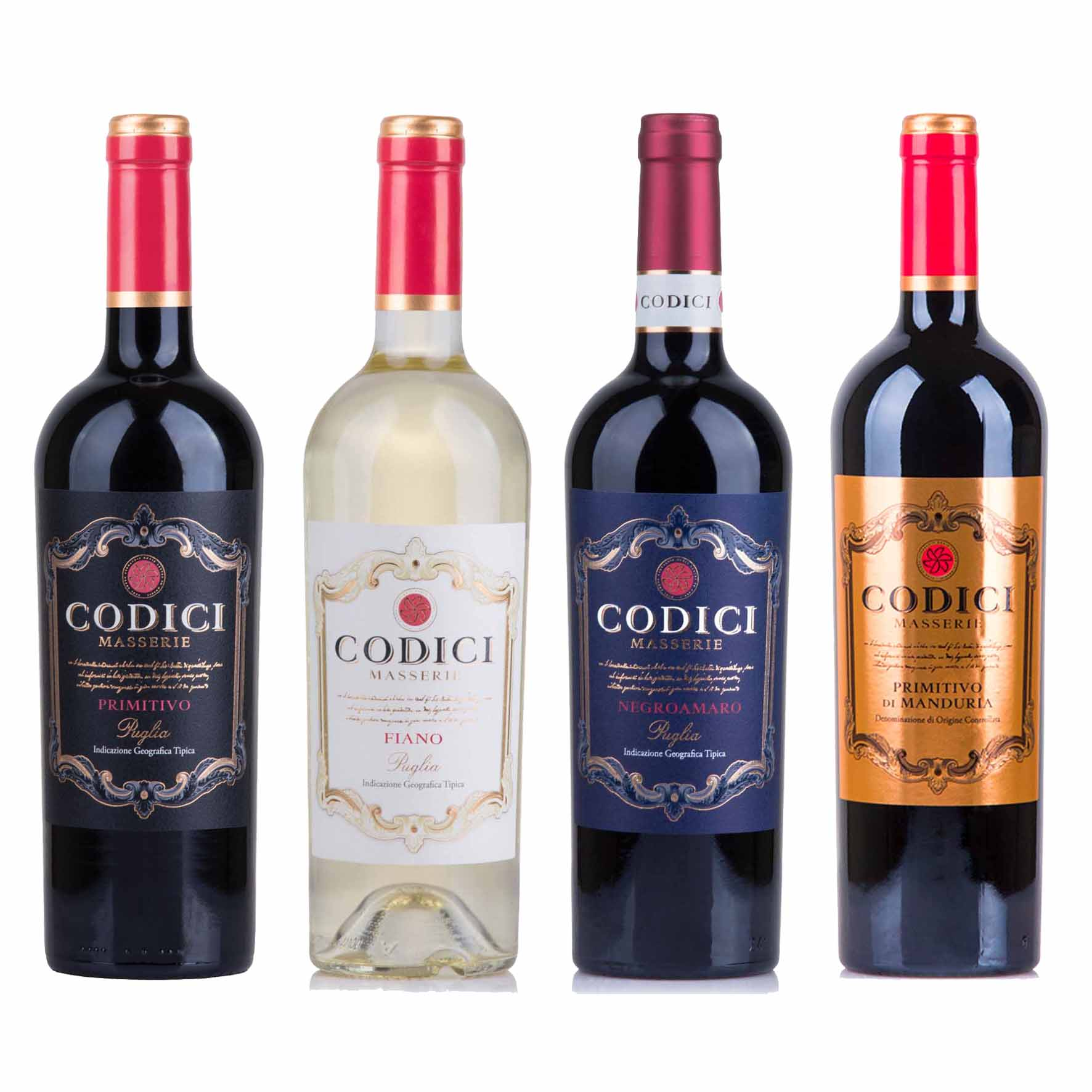 Kit 4x Vinhos Italianos Tinto/Branco Primitivo/Fiano/Negroamaro Puglia/Di Manduria IGT Codici