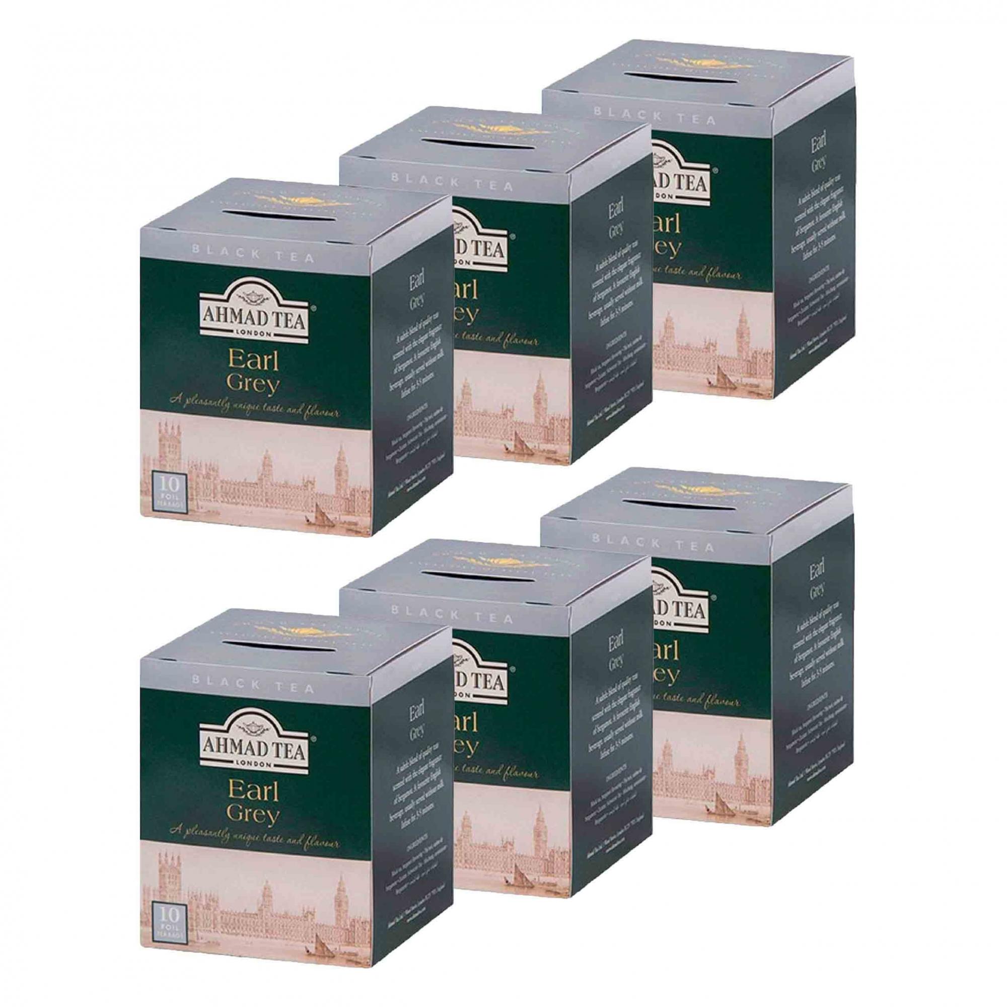 Kit 6 Caixas com 10 Sachês de Chá Earl Grey Ahmad Tea 20g