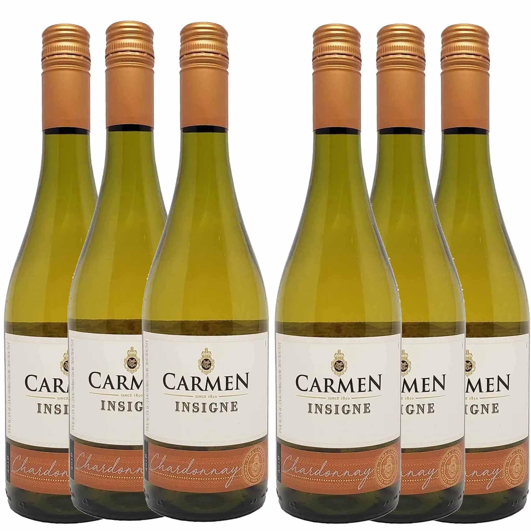 Kit 6 Vinho Branco Chileno Carmen Insigne Chardonnay 2018 750ml